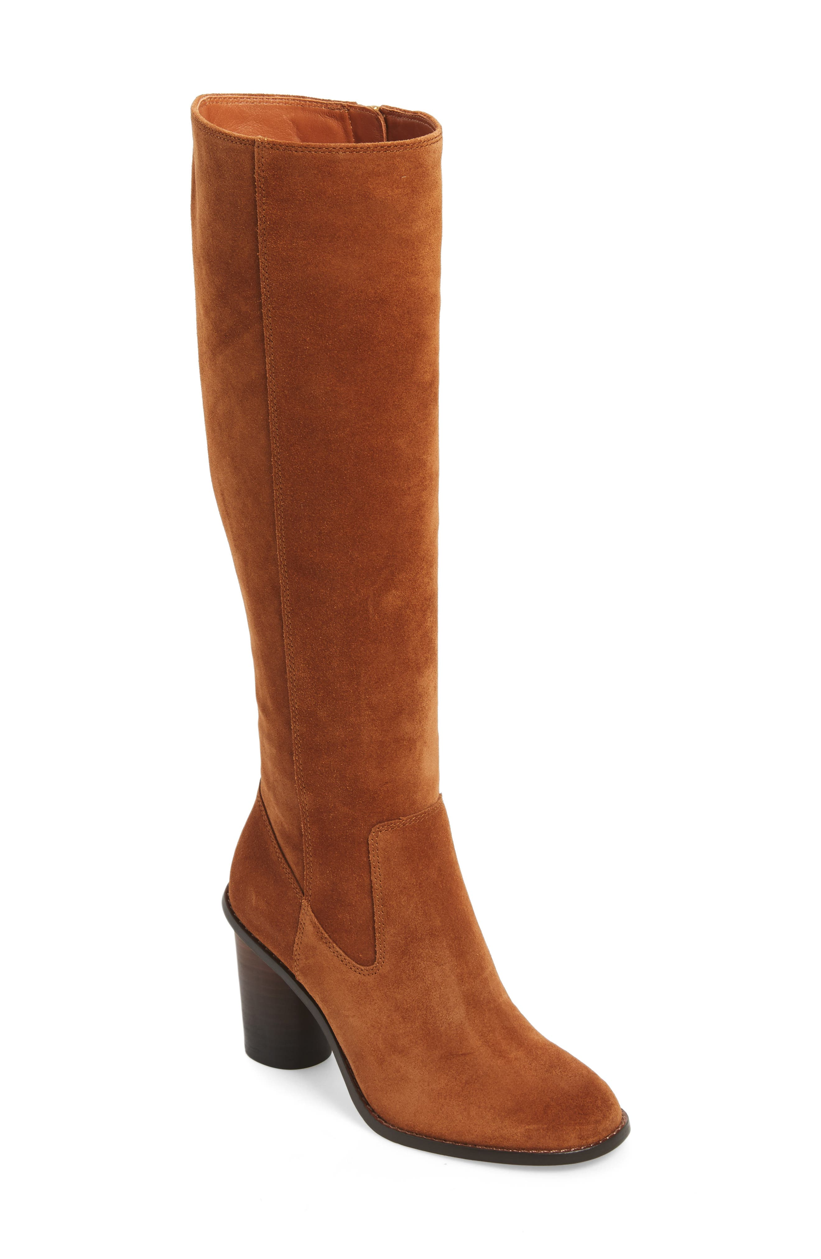 Ombré Knee High Boot,                             Main thumbnail 1, color,                             Saddle Suede