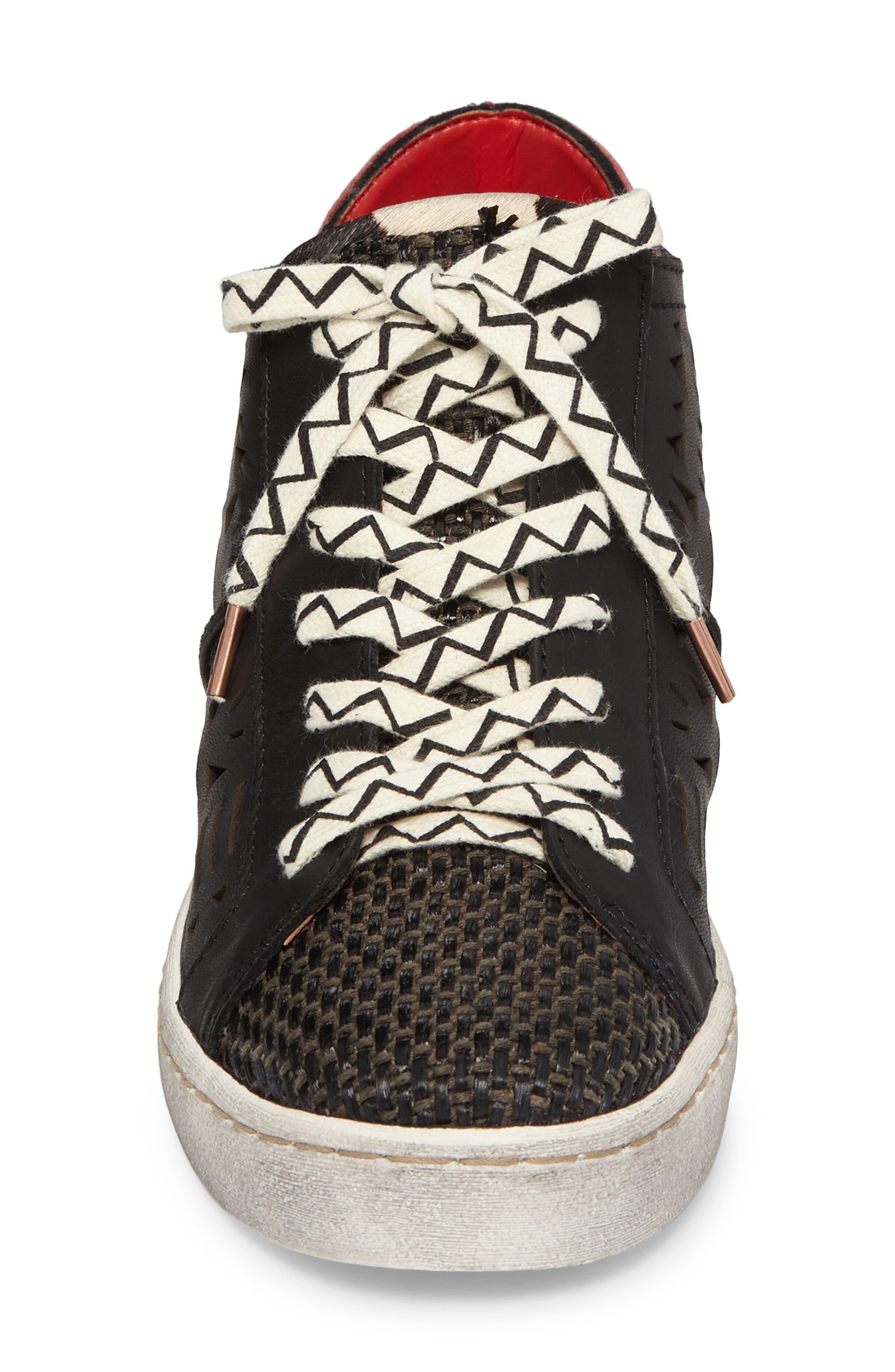 Zeus Genuine Calf Hair Sneaker,                             Alternate thumbnail 4, color,                             Black Lea