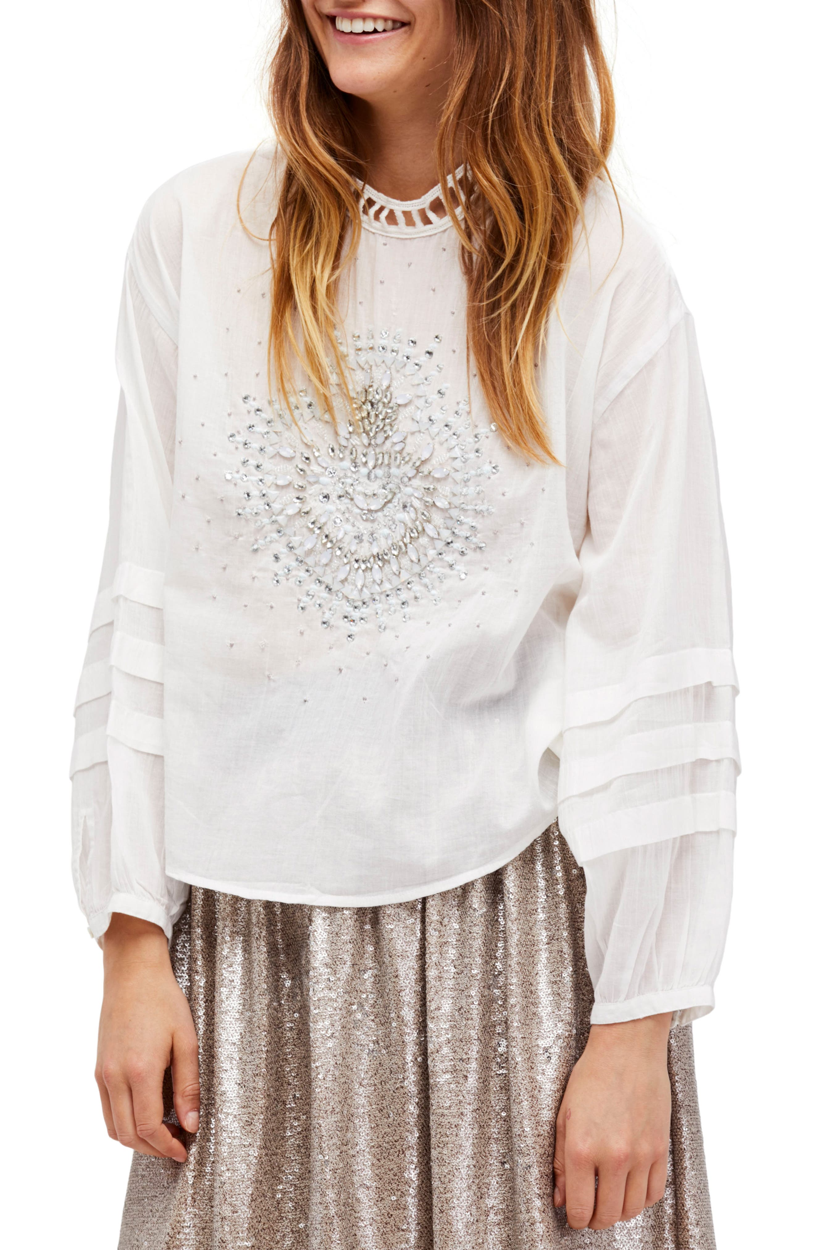 Free People Heart of Gold Embellished Blouse