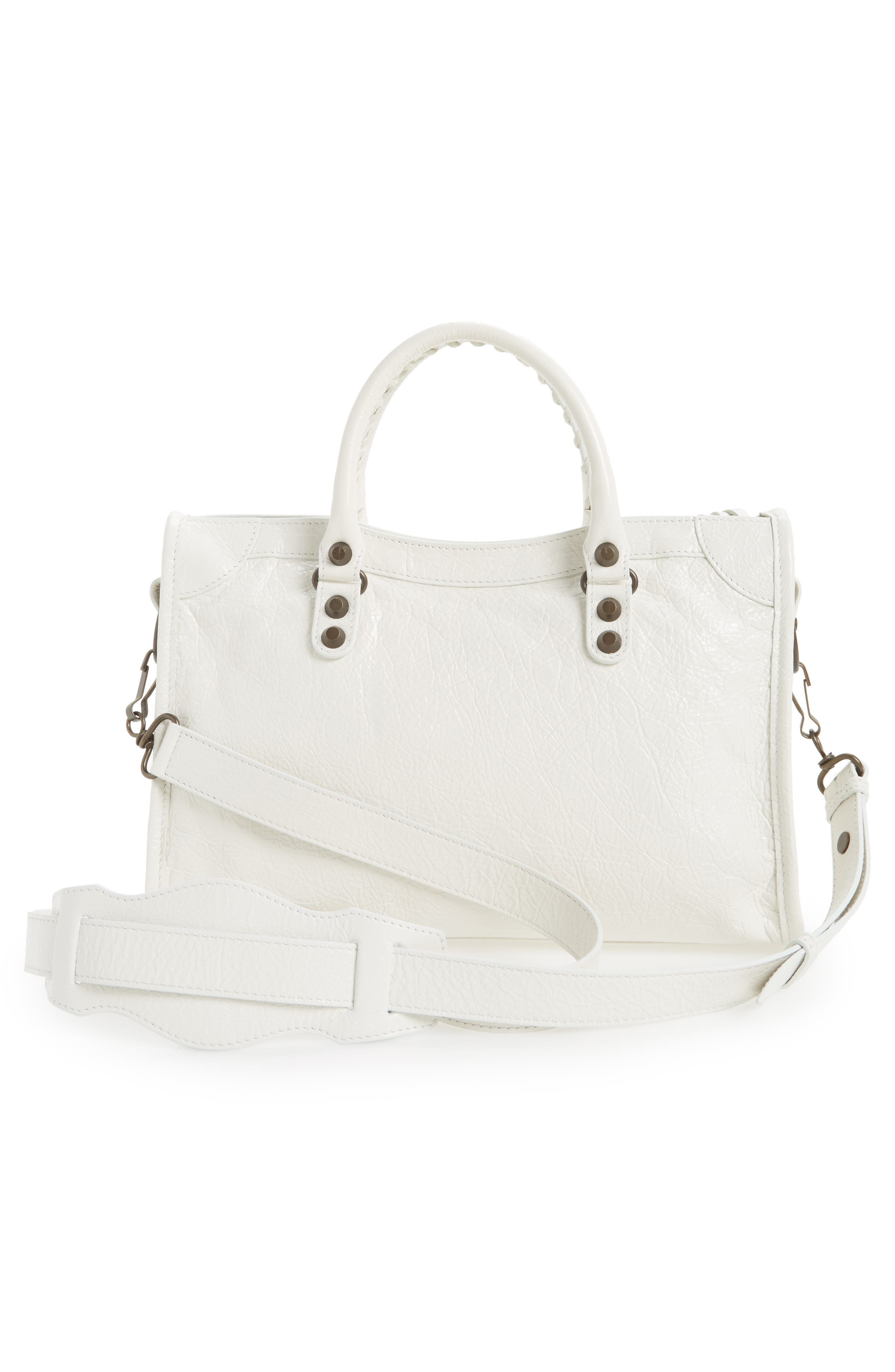 Small Classic City Leather Tote,                             Alternate thumbnail 3, color,                             9060 Blanc Clair
