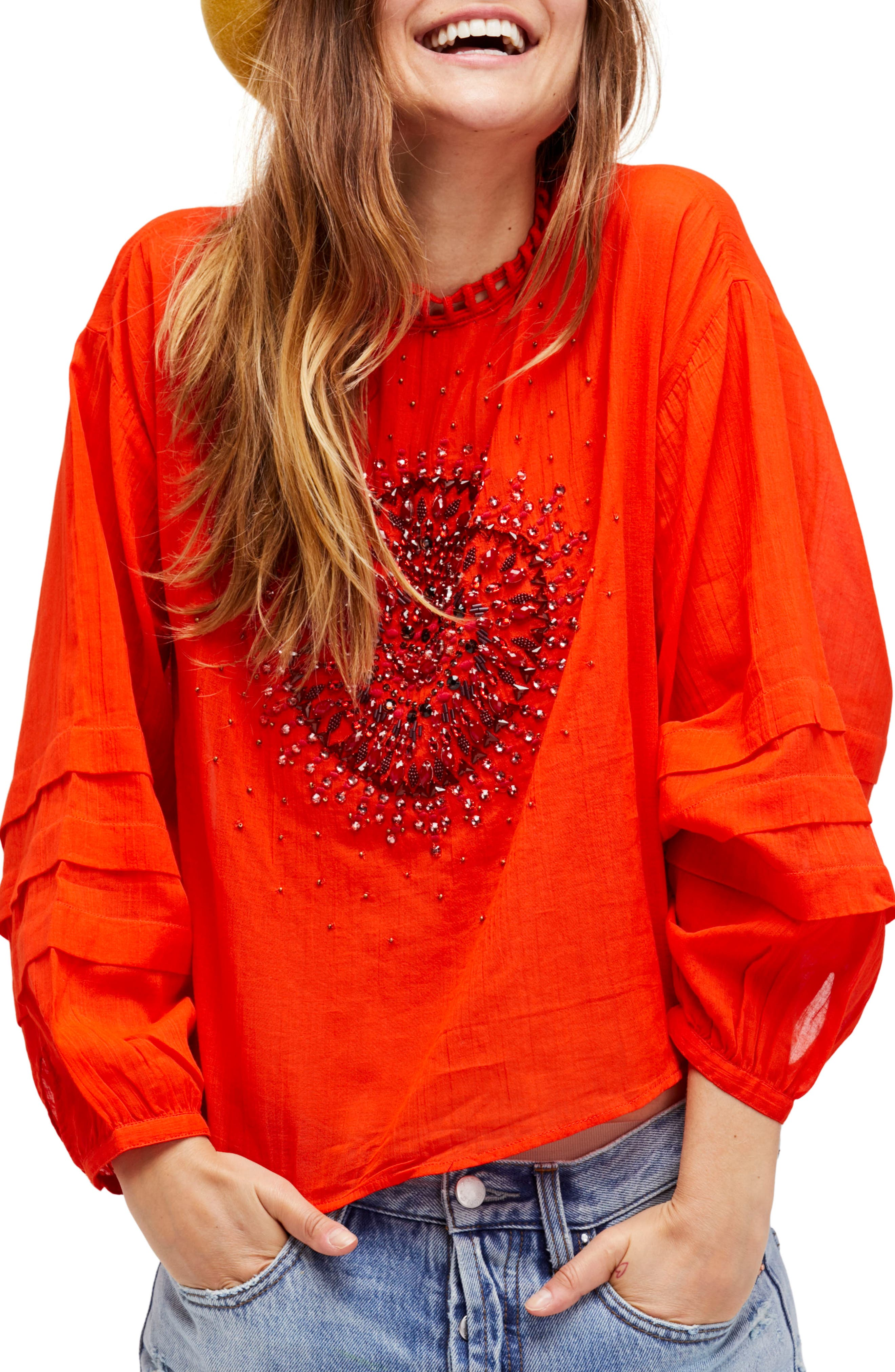 Heart of Gold Embellished Blouse,                             Main thumbnail 1, color,                             Red