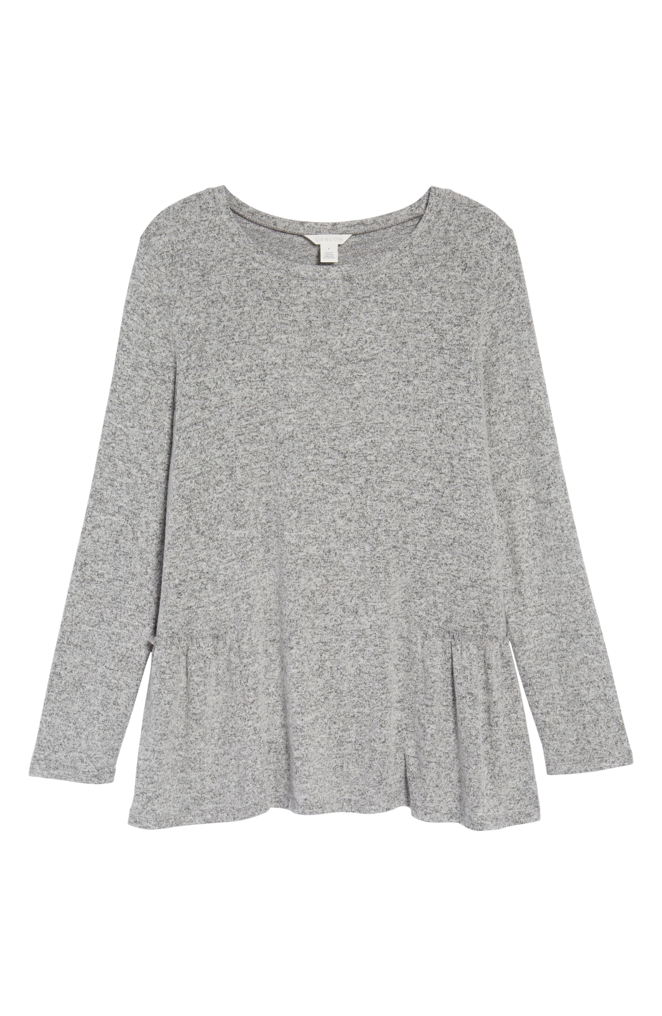 Cozy Back Peplum Top,                             Alternate thumbnail 6, color,                             Grey Heather