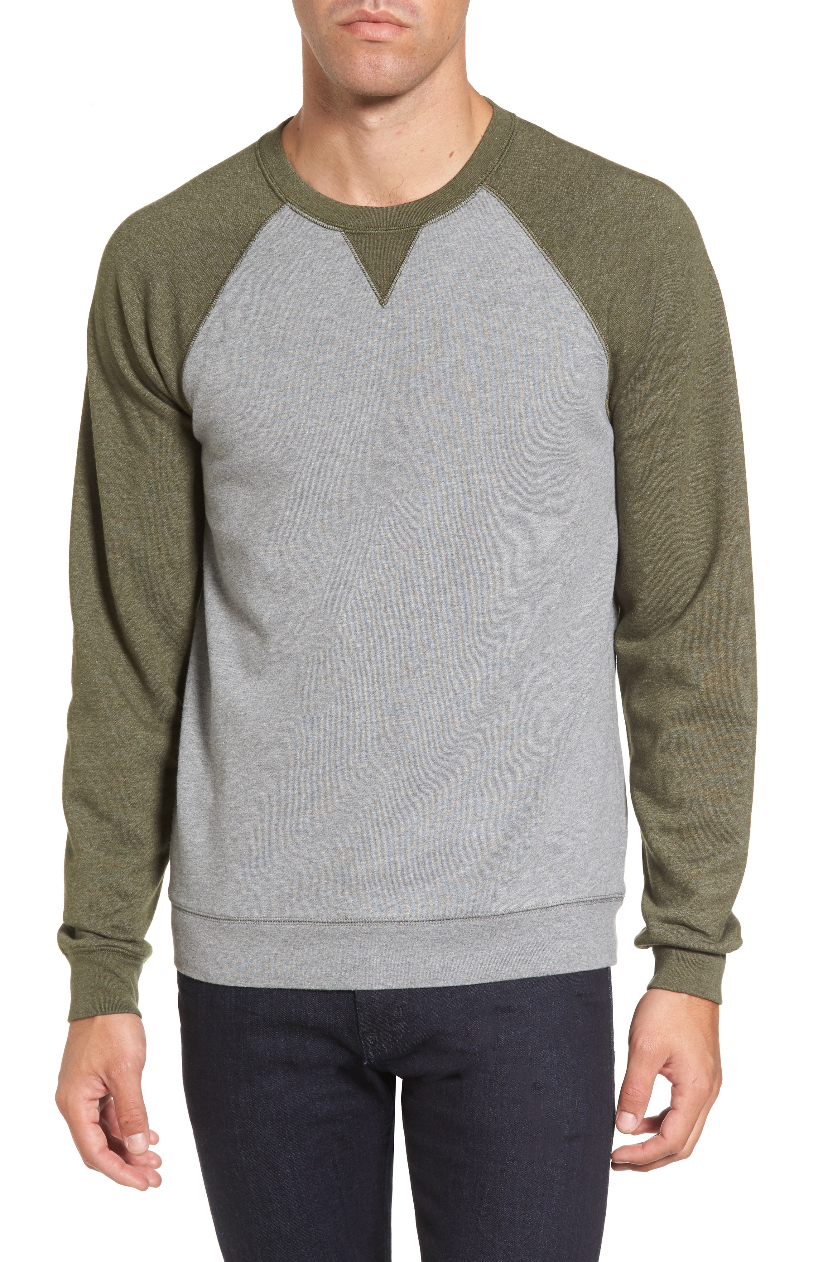 Colorblock French Terry Sweatshirt,                             Main thumbnail 1, color,                             Med Grey Army Heather