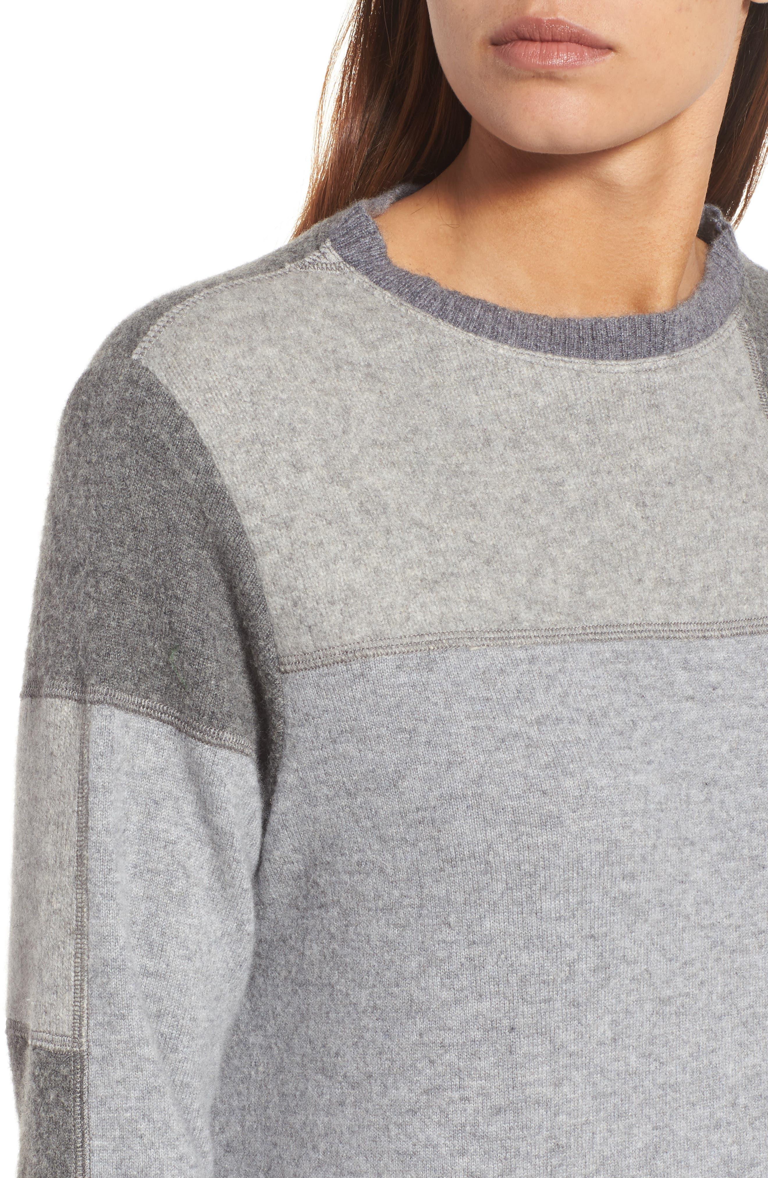 Colorblock Cashmere Sweater,                             Alternate thumbnail 4, color,                             Grey