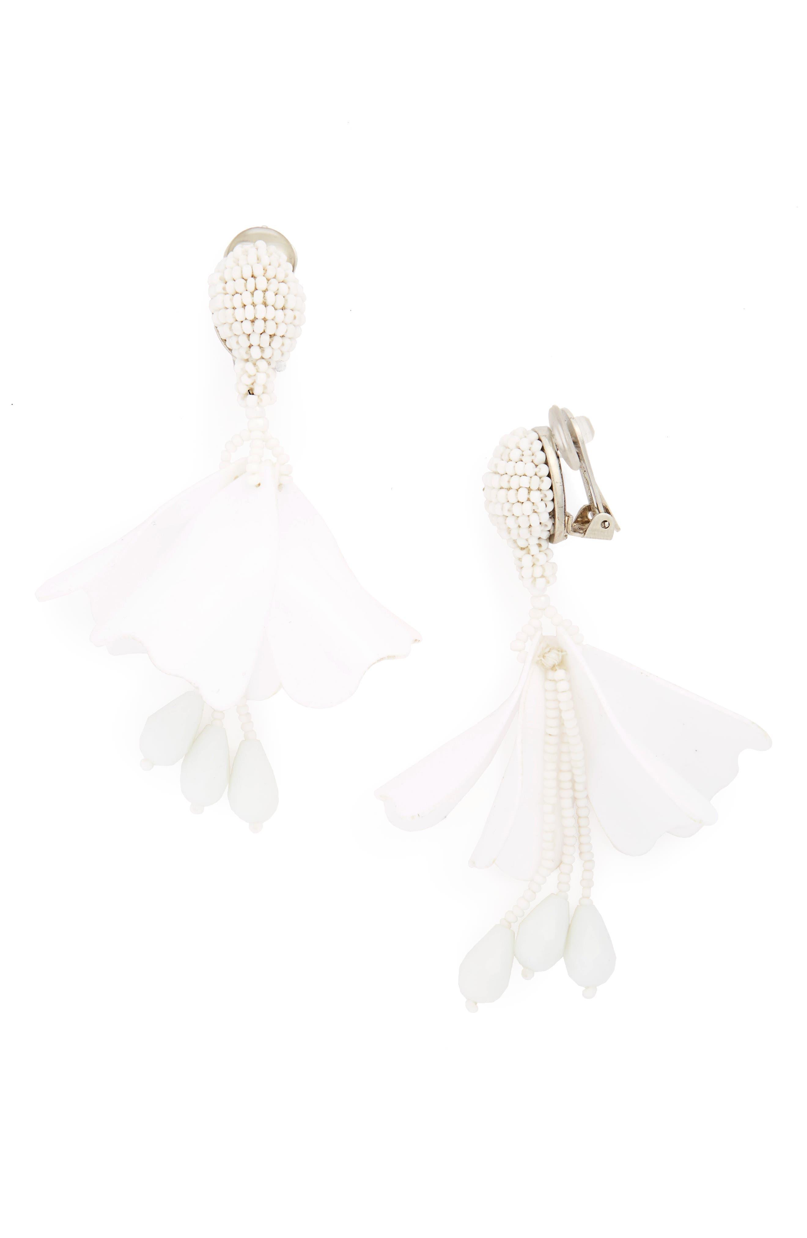 Oscar de la Renta Small Impatiens Flower Drop Clip Earrings