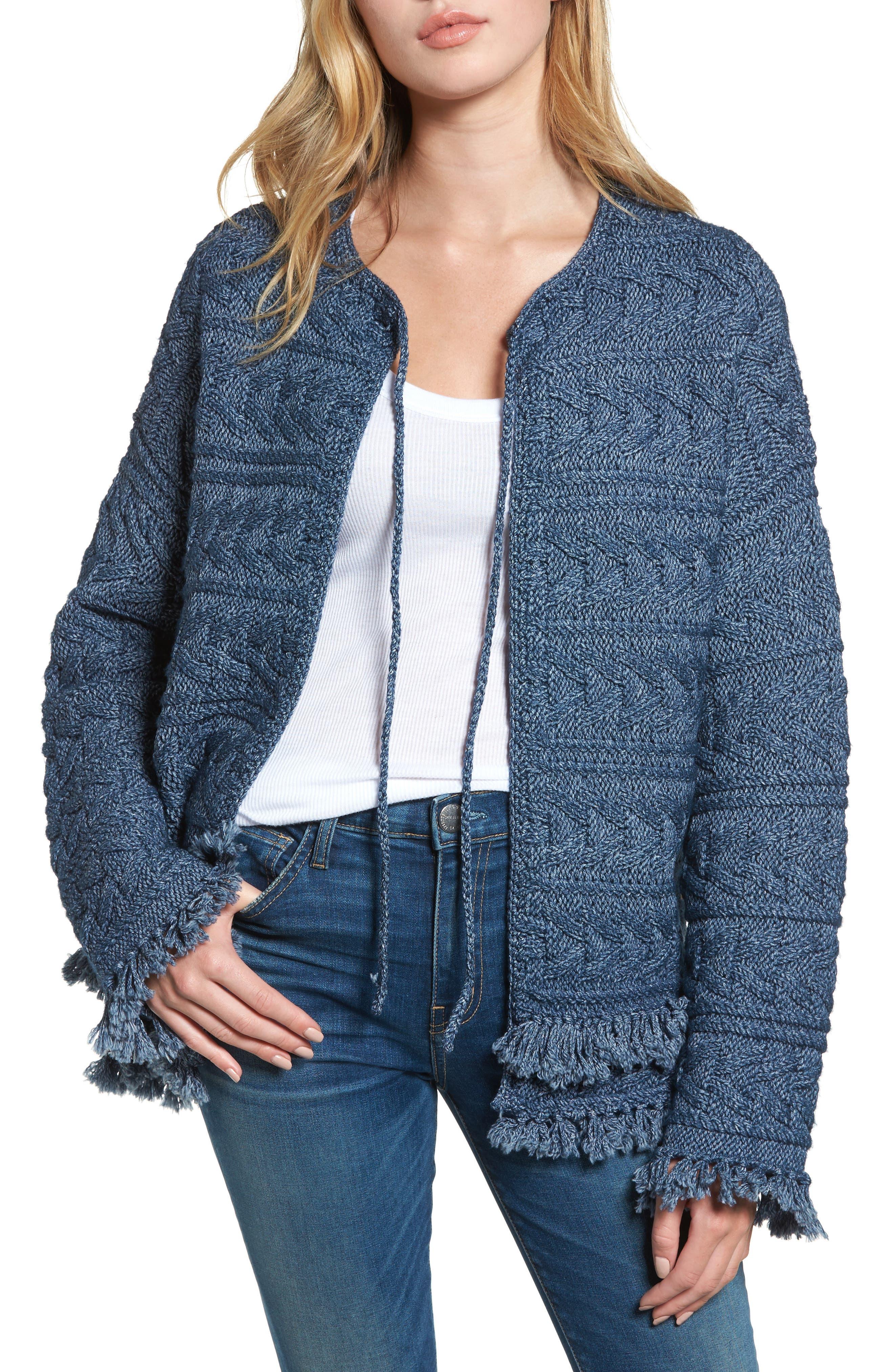 The Cable Fringe Sweater,                         Main,                         color, Indigo