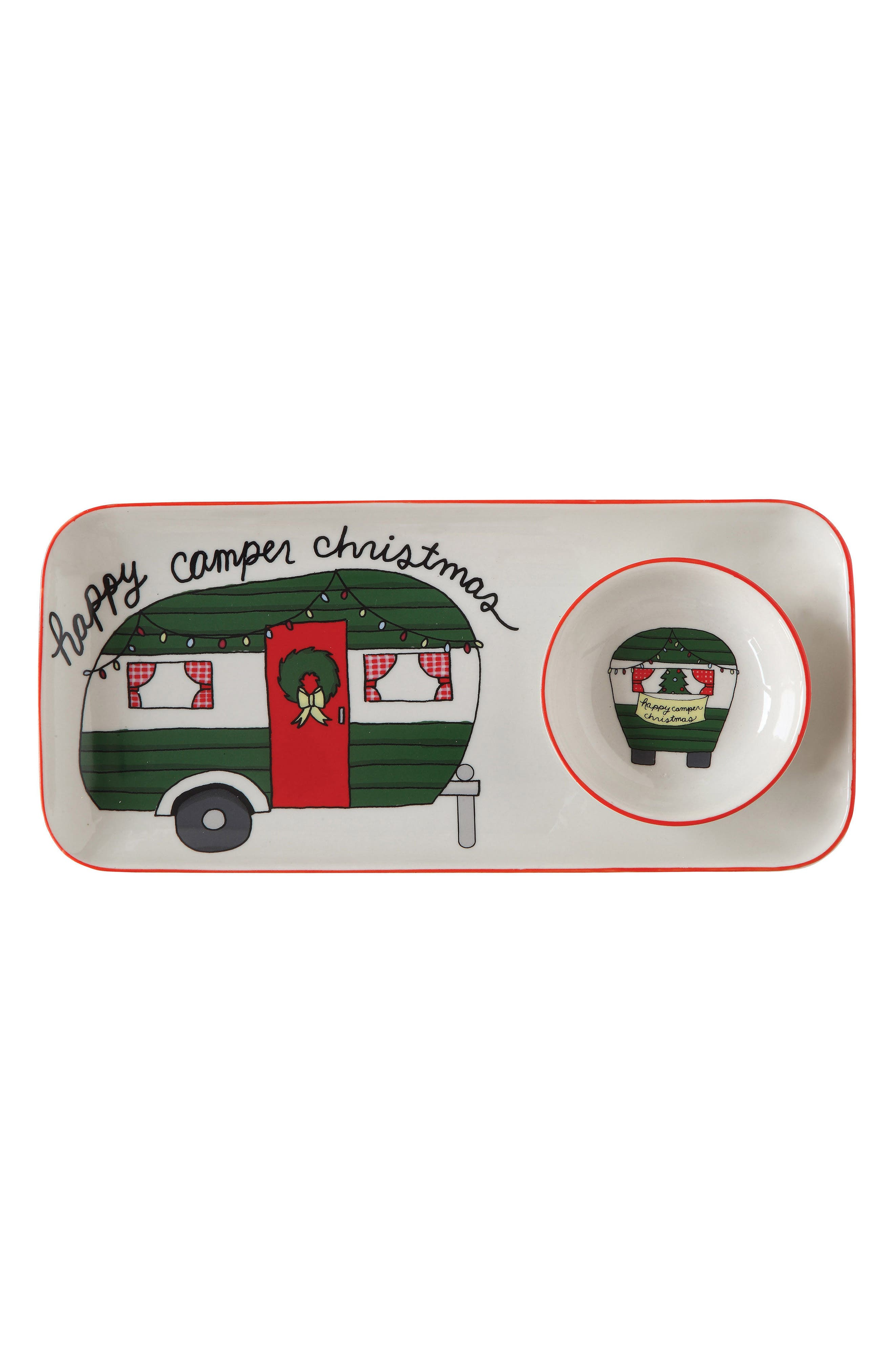 Creative Co-Op Happy Camper Christmas Serving Tray