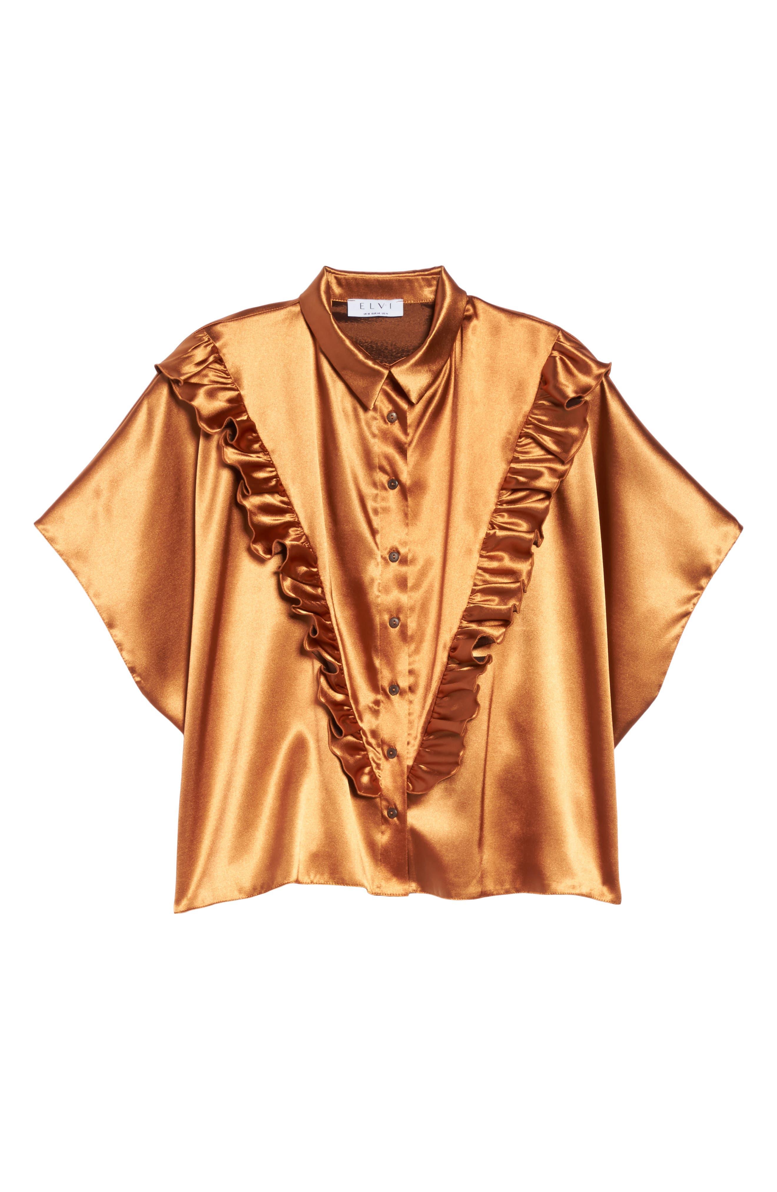 Alternate Image 6  - ELVI Copper Frill Shirt (Plus Size)