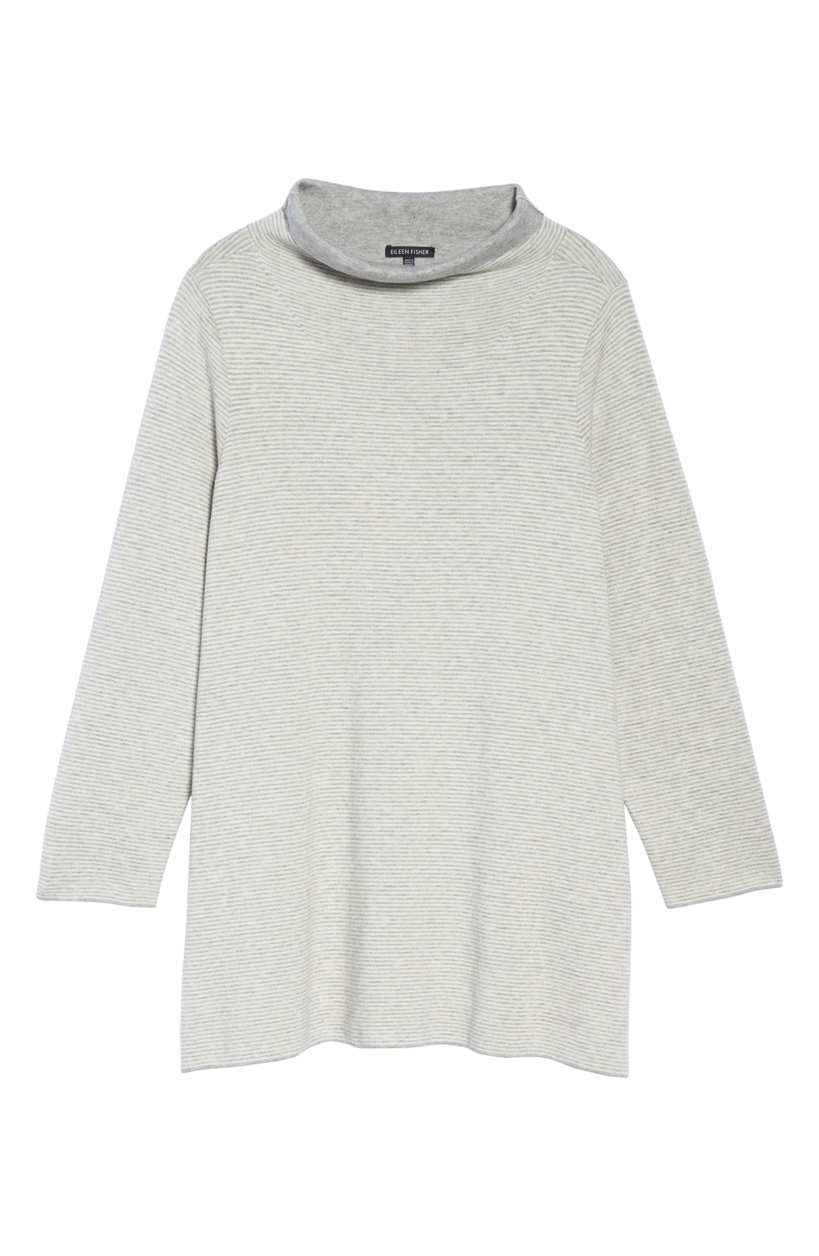 Reversible Funnel Neck Tunic Sweater,                             Alternate thumbnail 6, color,                             Dark Pearl