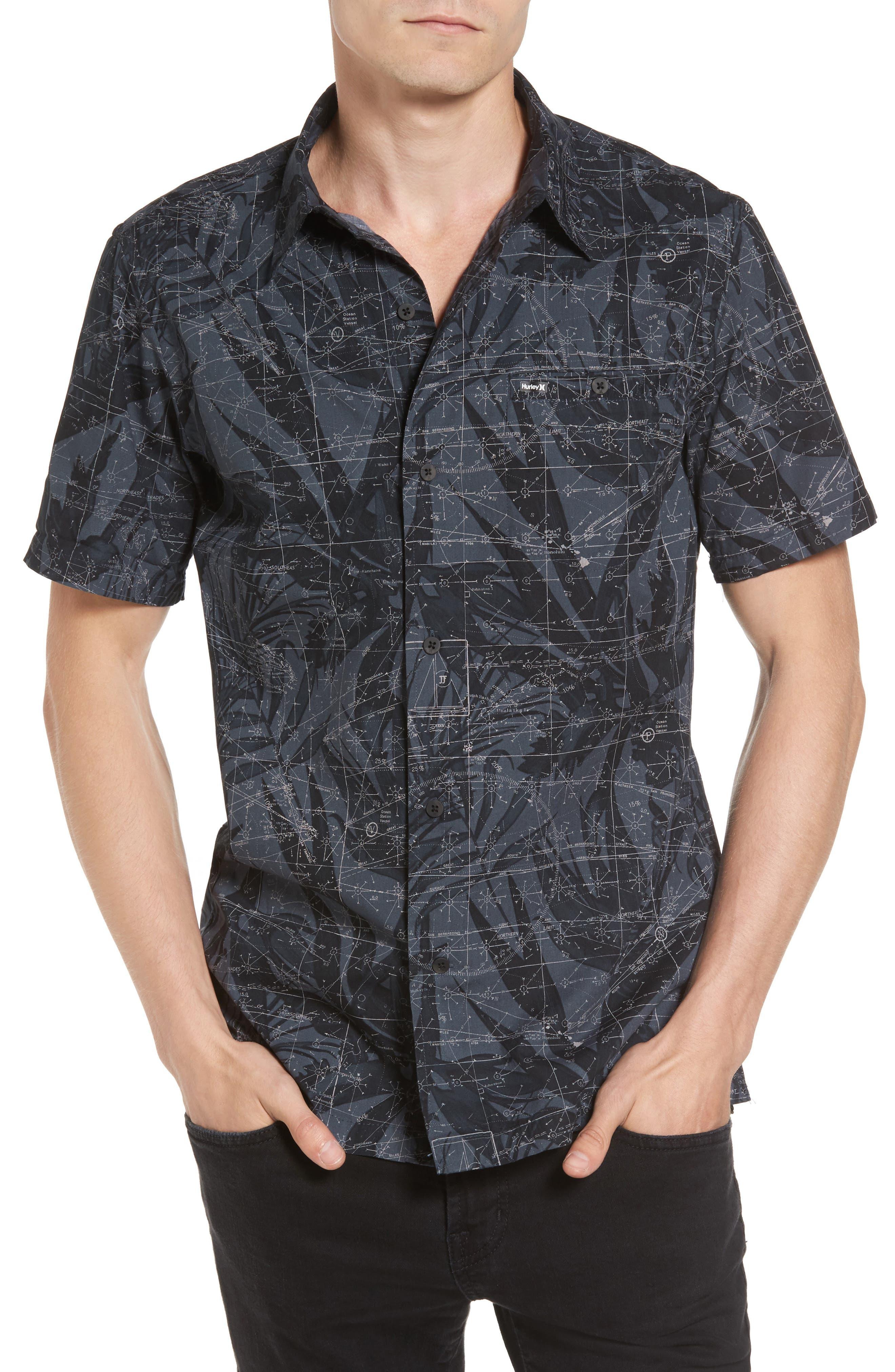 Maps Woven Shirt,                         Main,                         color, Black