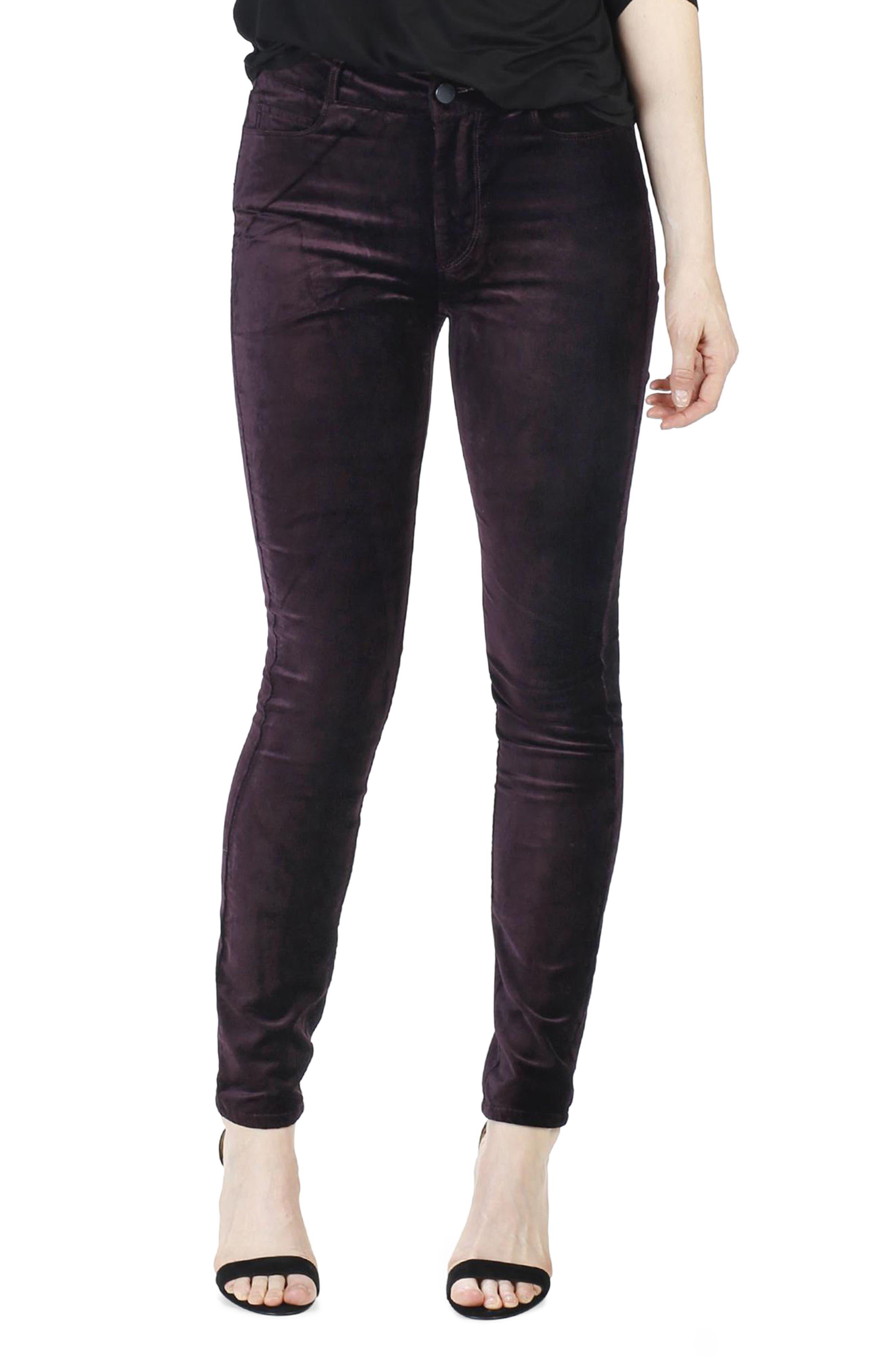 Hoxton Velvet Ankle Skinny Jeans,                             Main thumbnail 1, color,                             Black Cherry