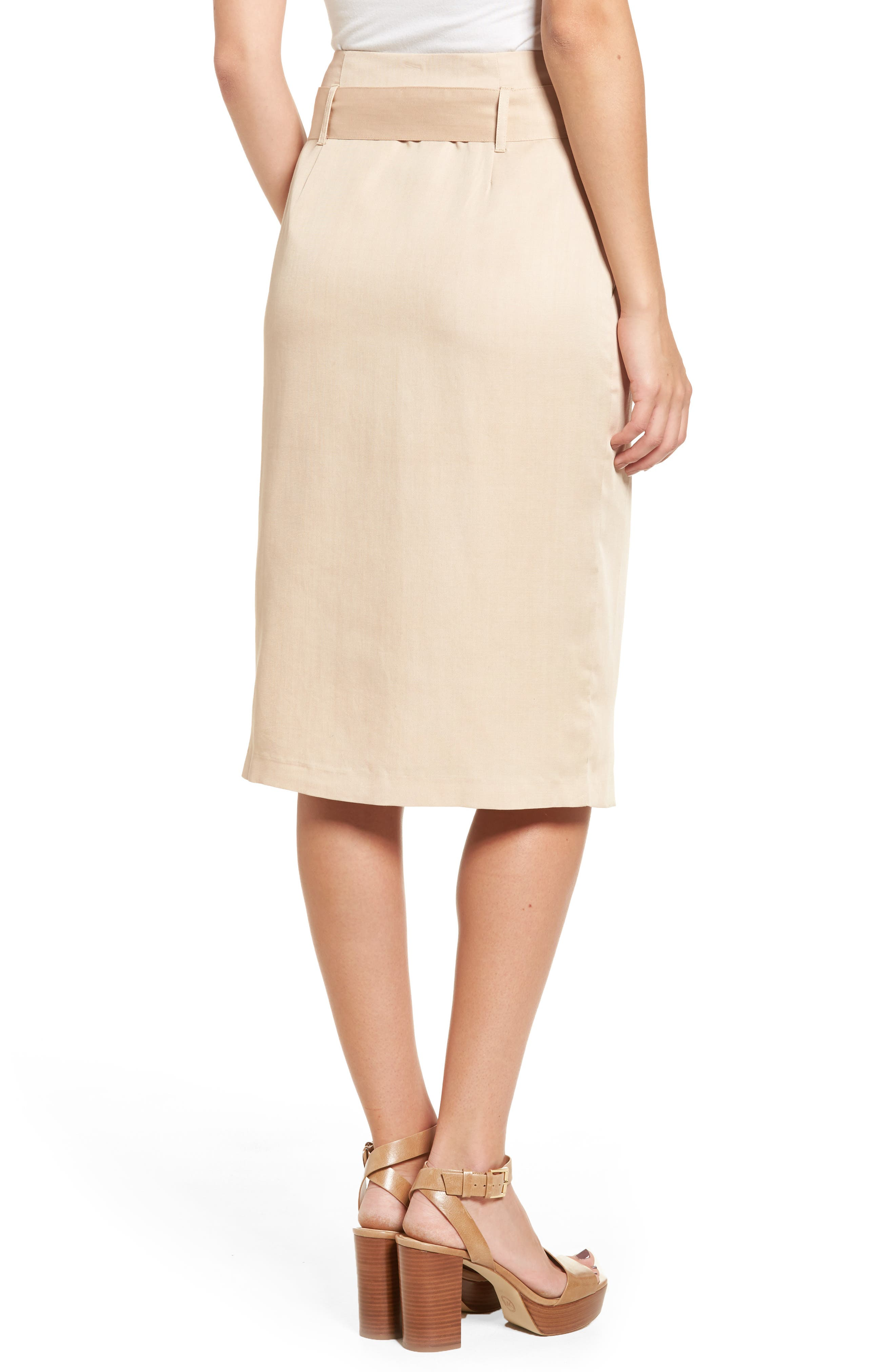 Tie Waist Pencil Skirt,                             Alternate thumbnail 2, color,                             Taupe