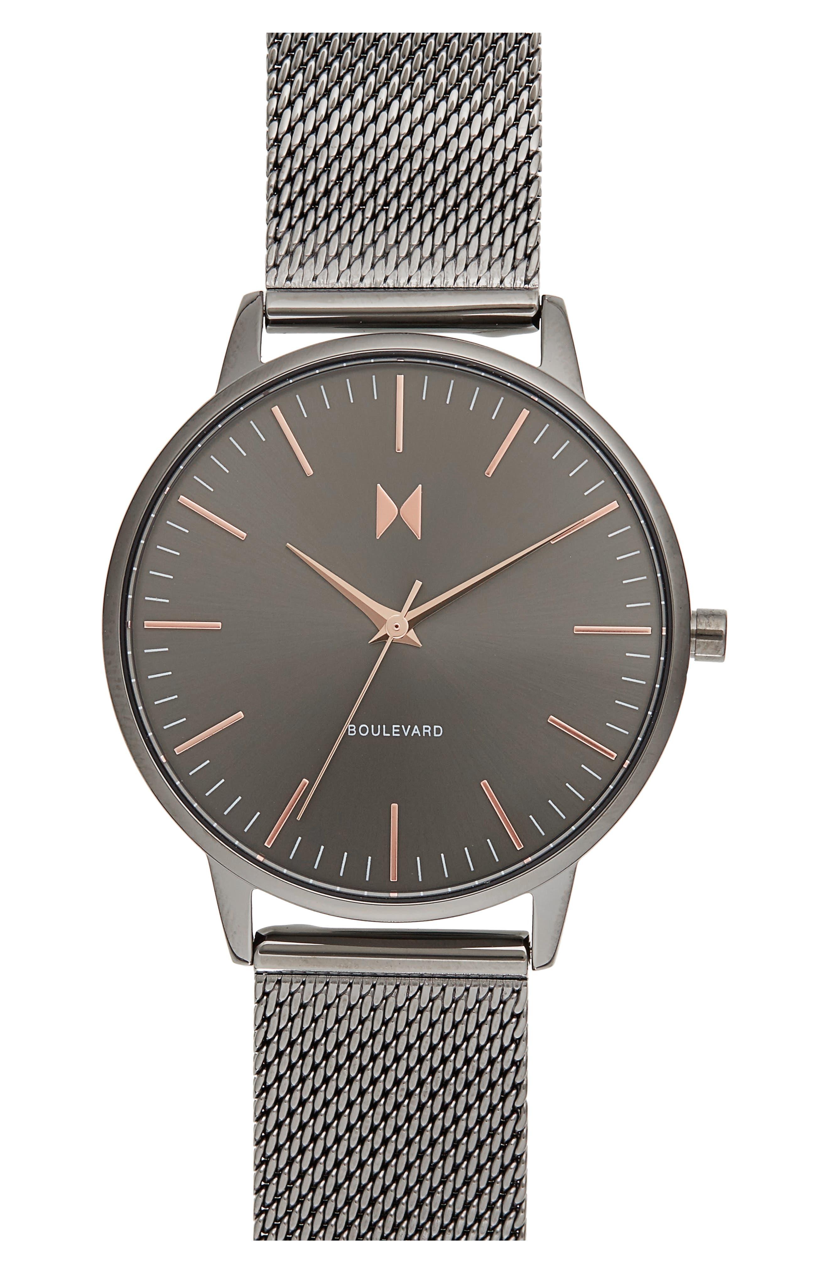 Boulevard Mesh Strap Watch, 38mm,                         Main,                         color, Grey/ Rose Gold
