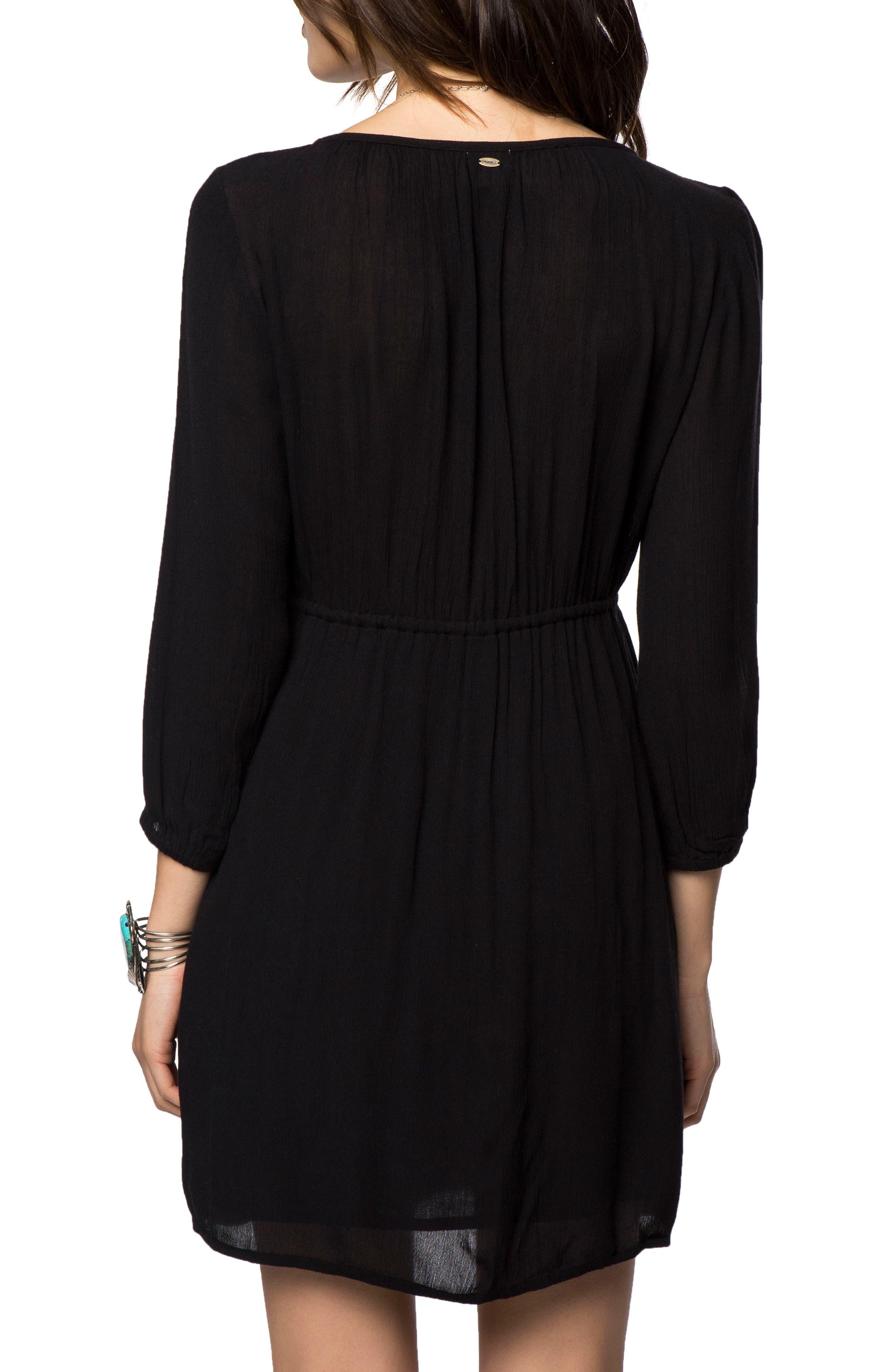 Mina Embroidered Minidress,                             Alternate thumbnail 2, color,                             Black