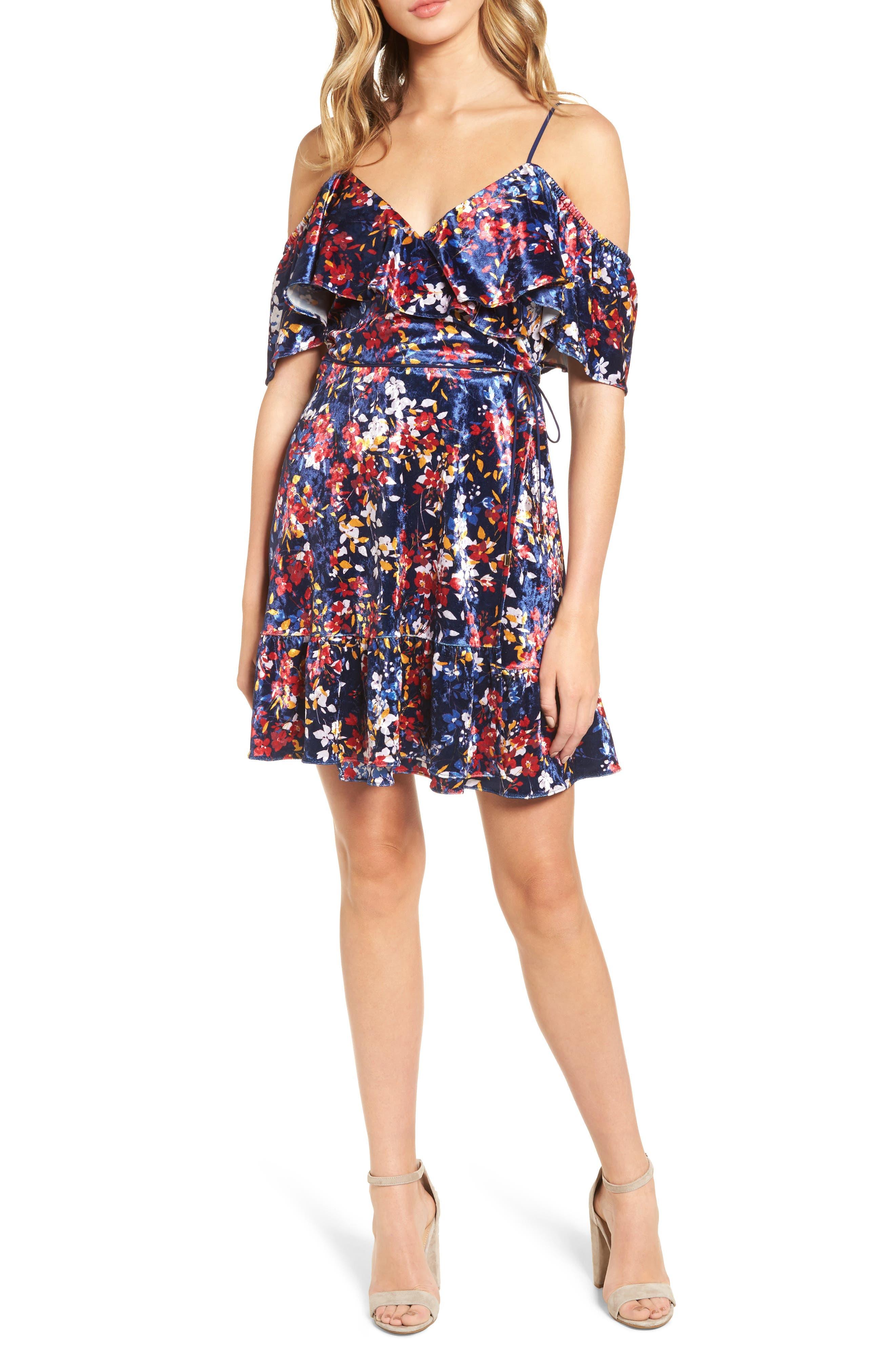 Iris Cold Shoulder Velvet Wrap Dress,                             Main thumbnail 1, color,                             Jasmine