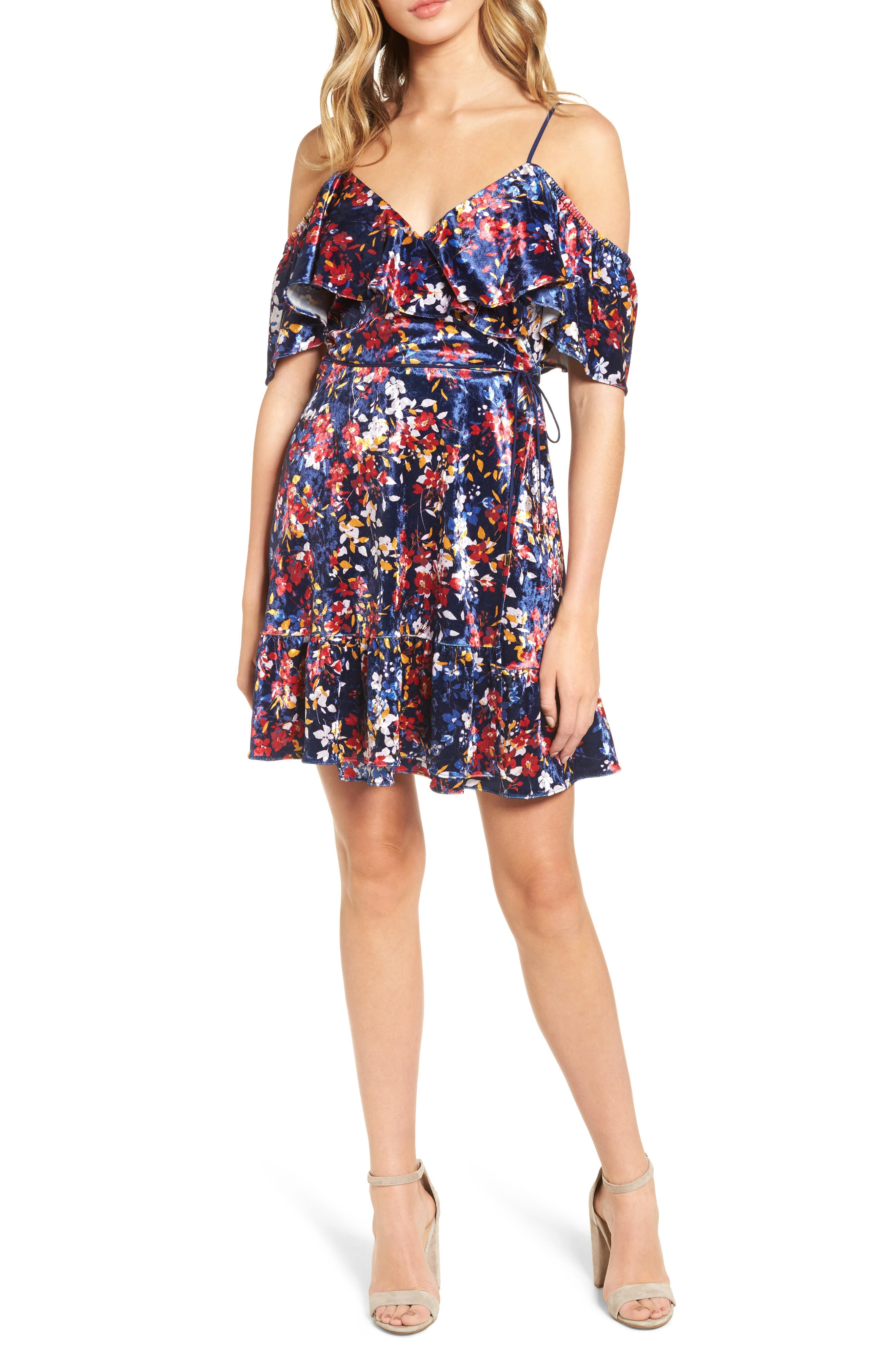 Main Image - devlin Iris Cold Shoulder Velvet Wrap Dress