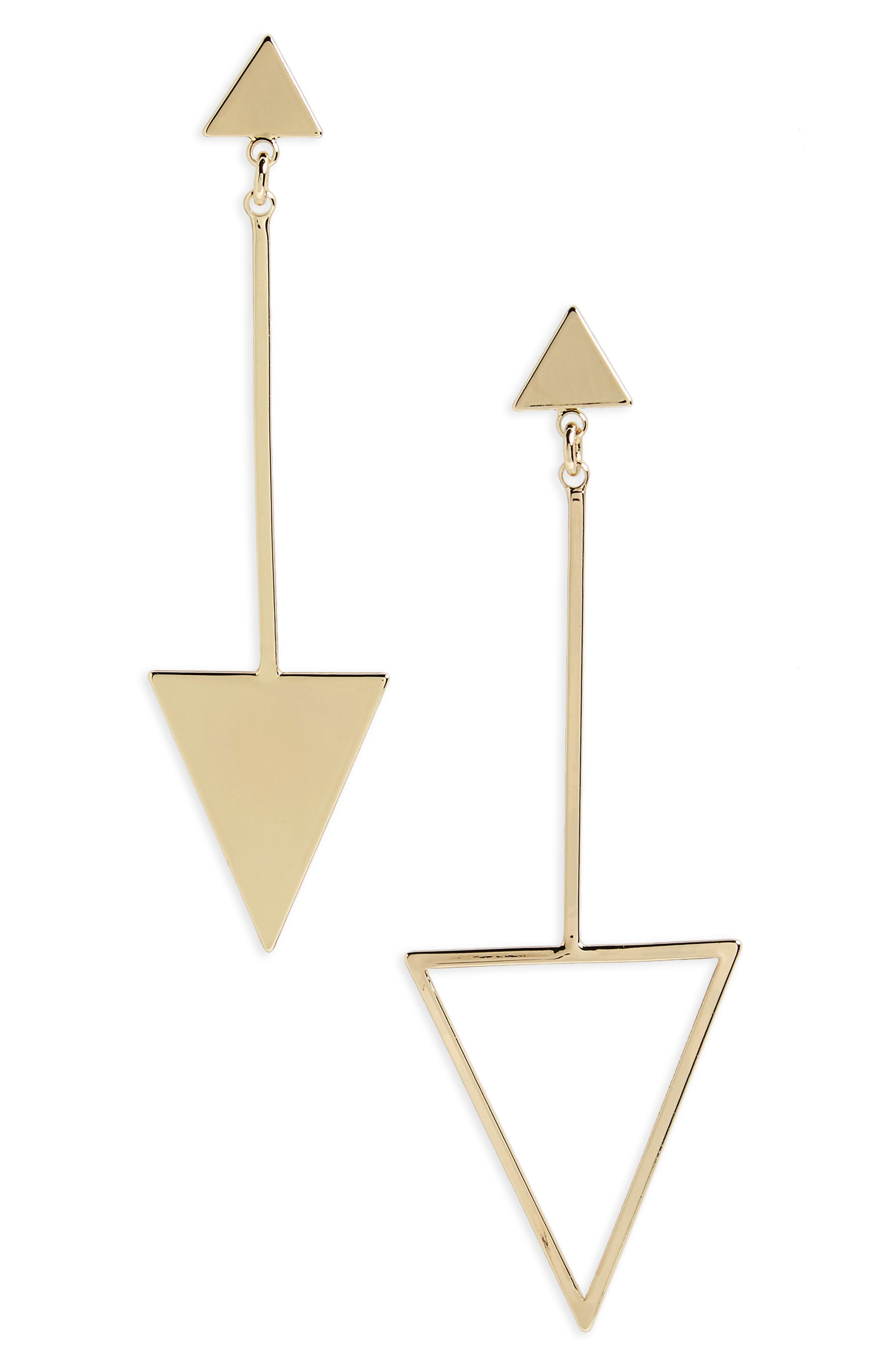 Mismatched Drop Earrings,                         Main,                         color, Gold