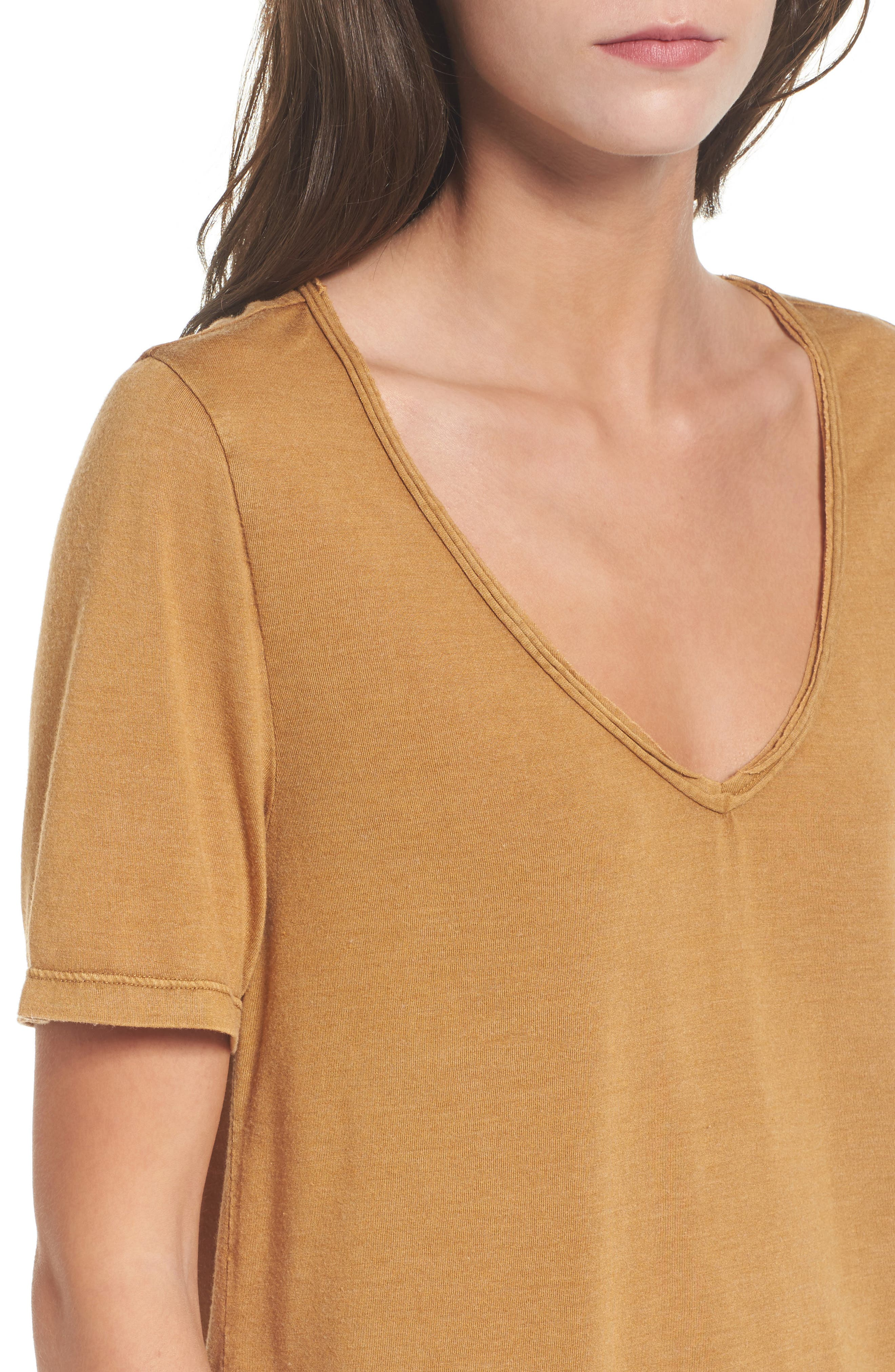Raw Edge V-Neck Tee,                             Alternate thumbnail 4, color,                             Brown Cattail