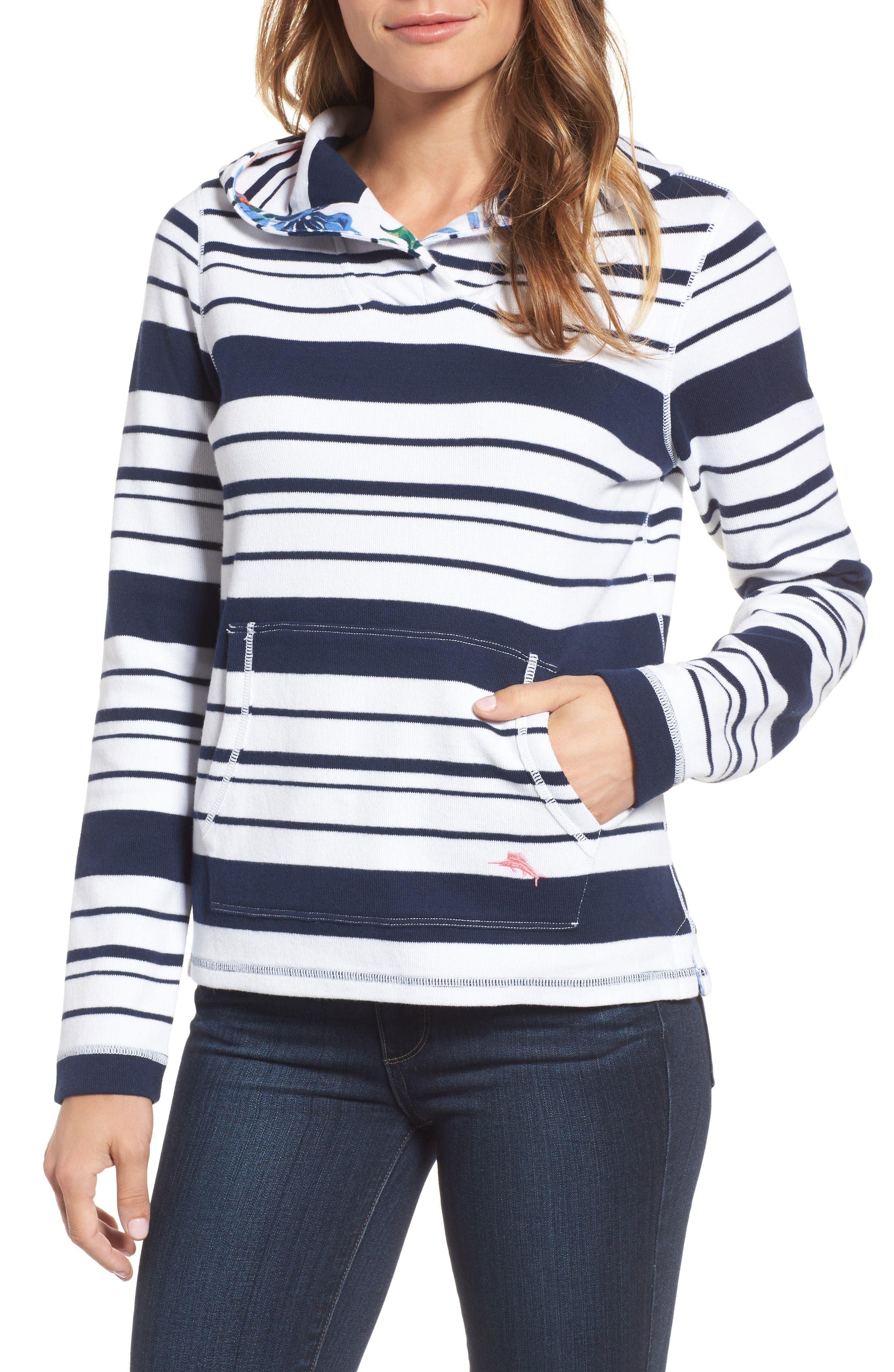 Aruba Stripe Hoodie,                         Main,                         color, Ocean Deep