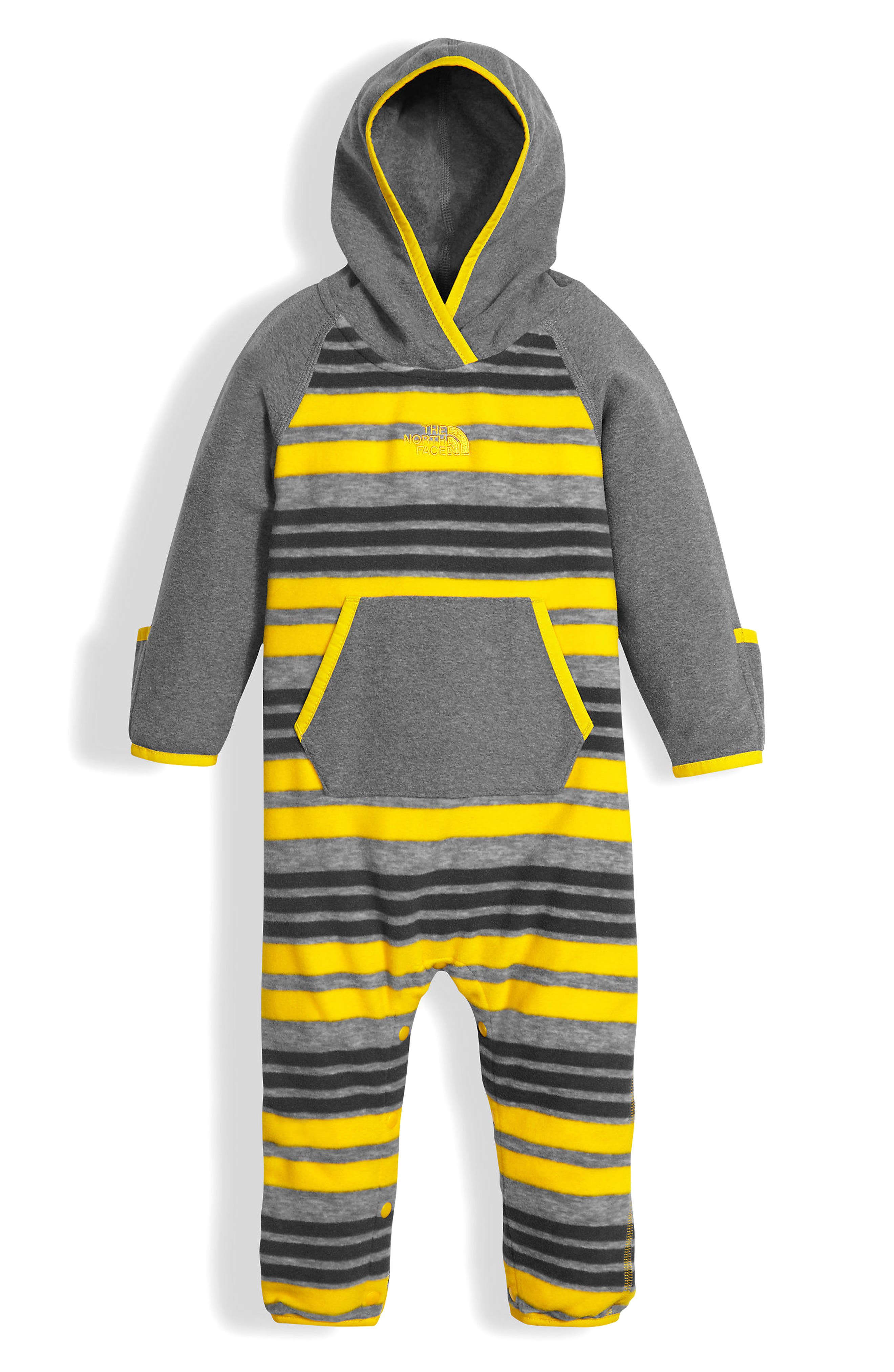 Glacier Hooded Romper,                             Main thumbnail 1, color,                             Canary Yellow