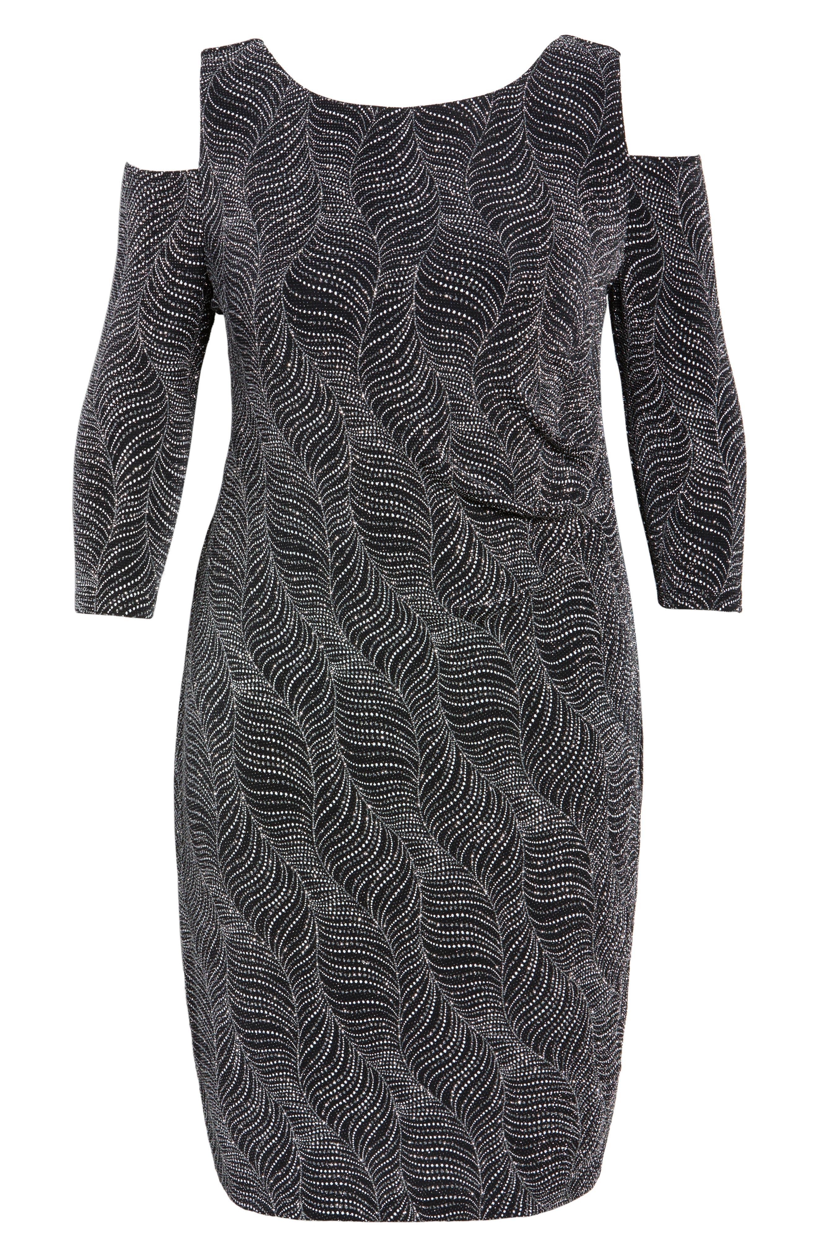 Cold Shoulder Glitter Knit Sheath Dress,                             Alternate thumbnail 6, color,                             Black/ Silver