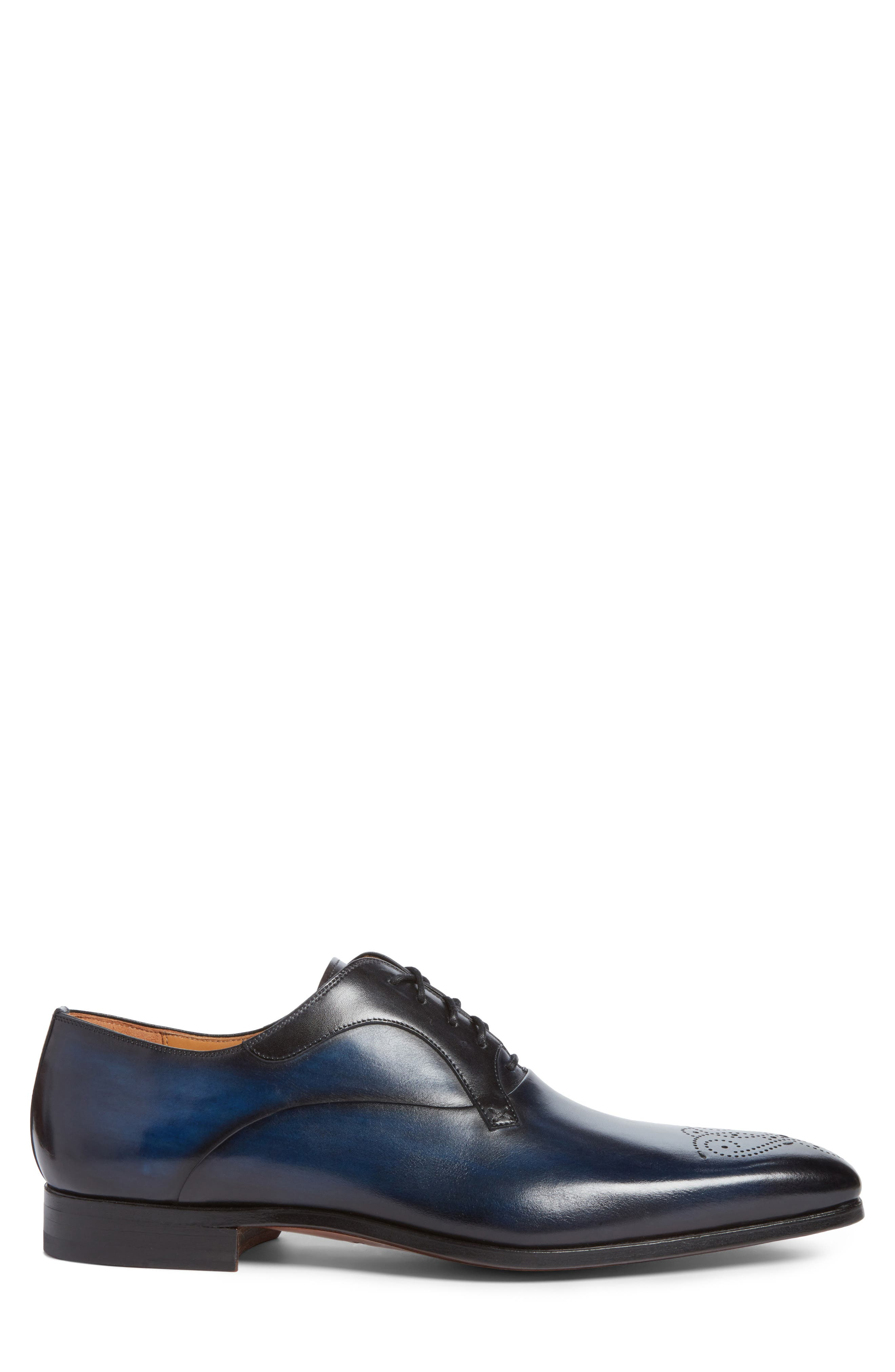 Salva Medallion Toe Oxford,                             Alternate thumbnail 3, color,                             Navy Leather