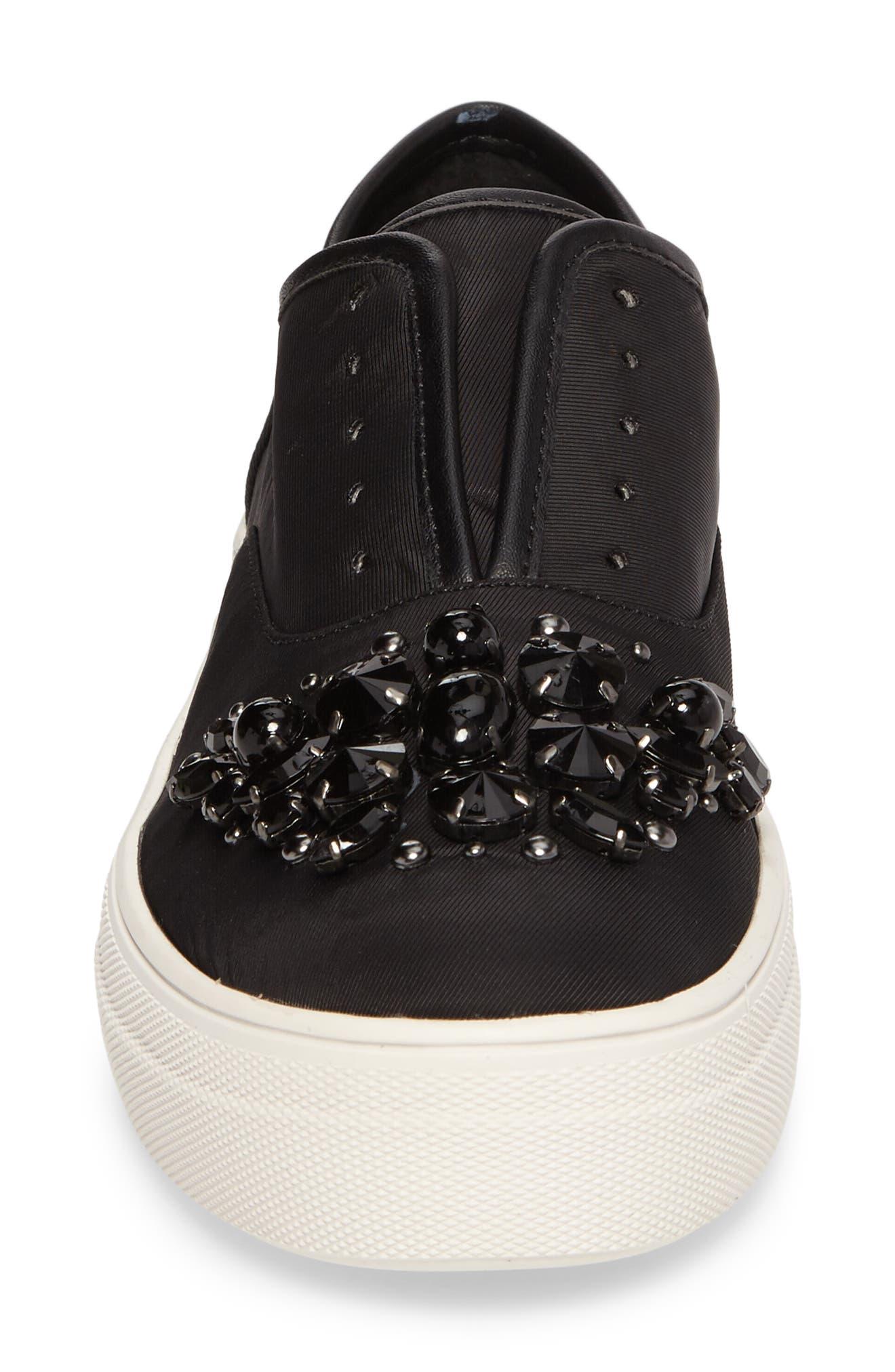 Passion Embellished Slip-On Platform Sneaker,                             Alternate thumbnail 4, color,                             Black