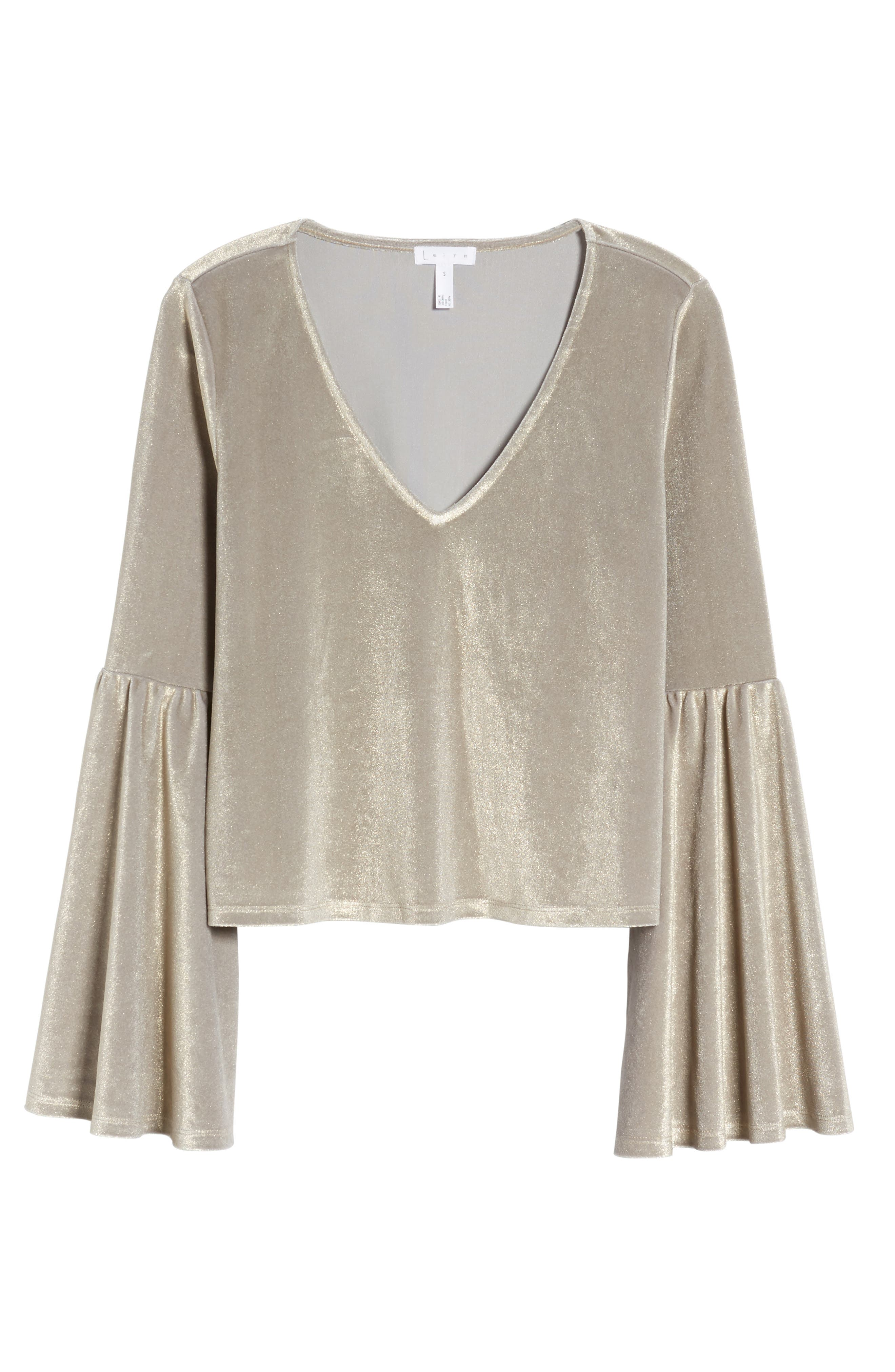 Alternate Image 6  - Leith Velour Bell Sleeve Top