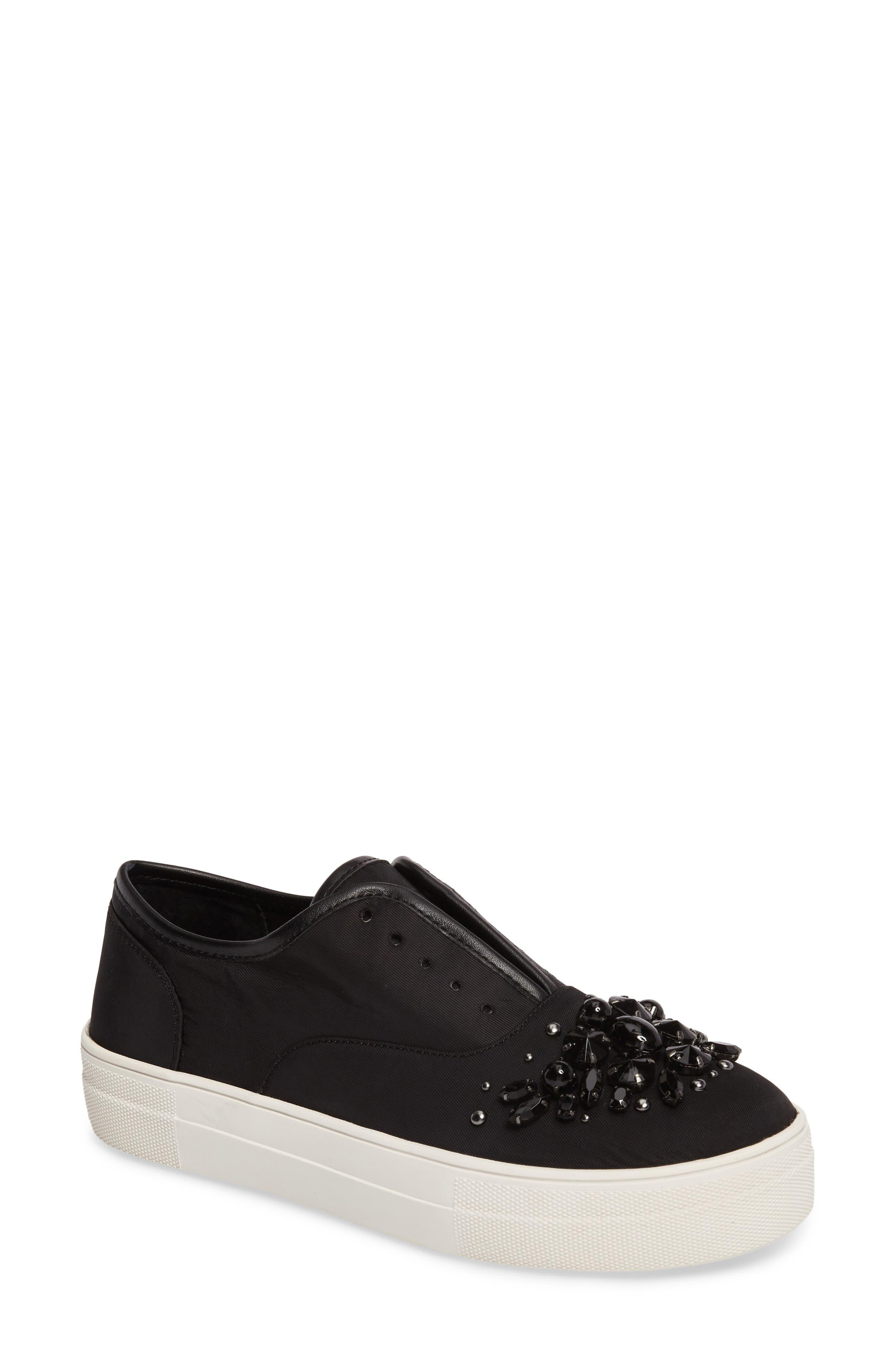 Passion Embellished Slip-On Platform Sneaker,                             Main thumbnail 1, color,                             Black