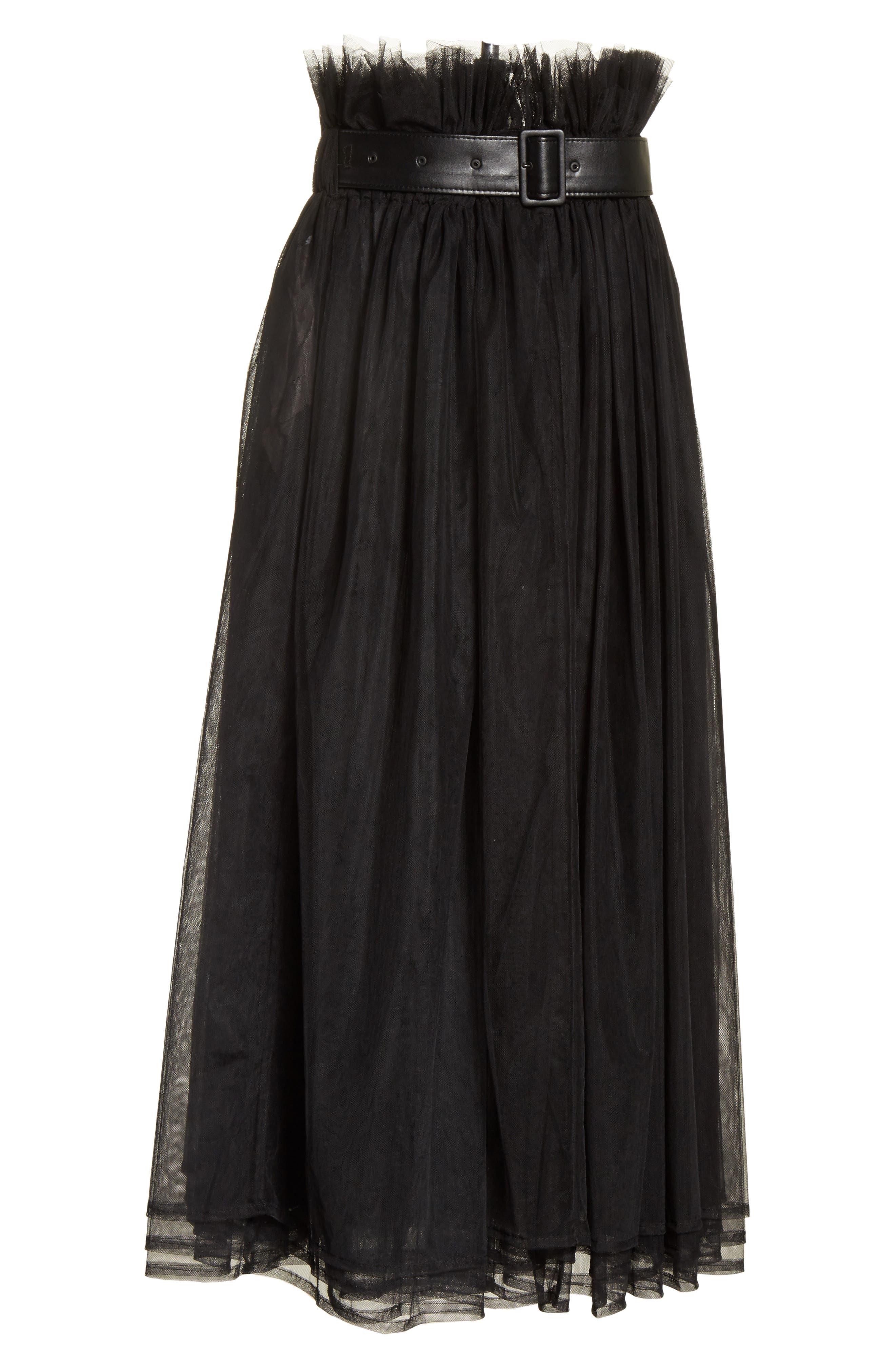 Tulle Midi Skirt,                             Alternate thumbnail 6, color,                             Black