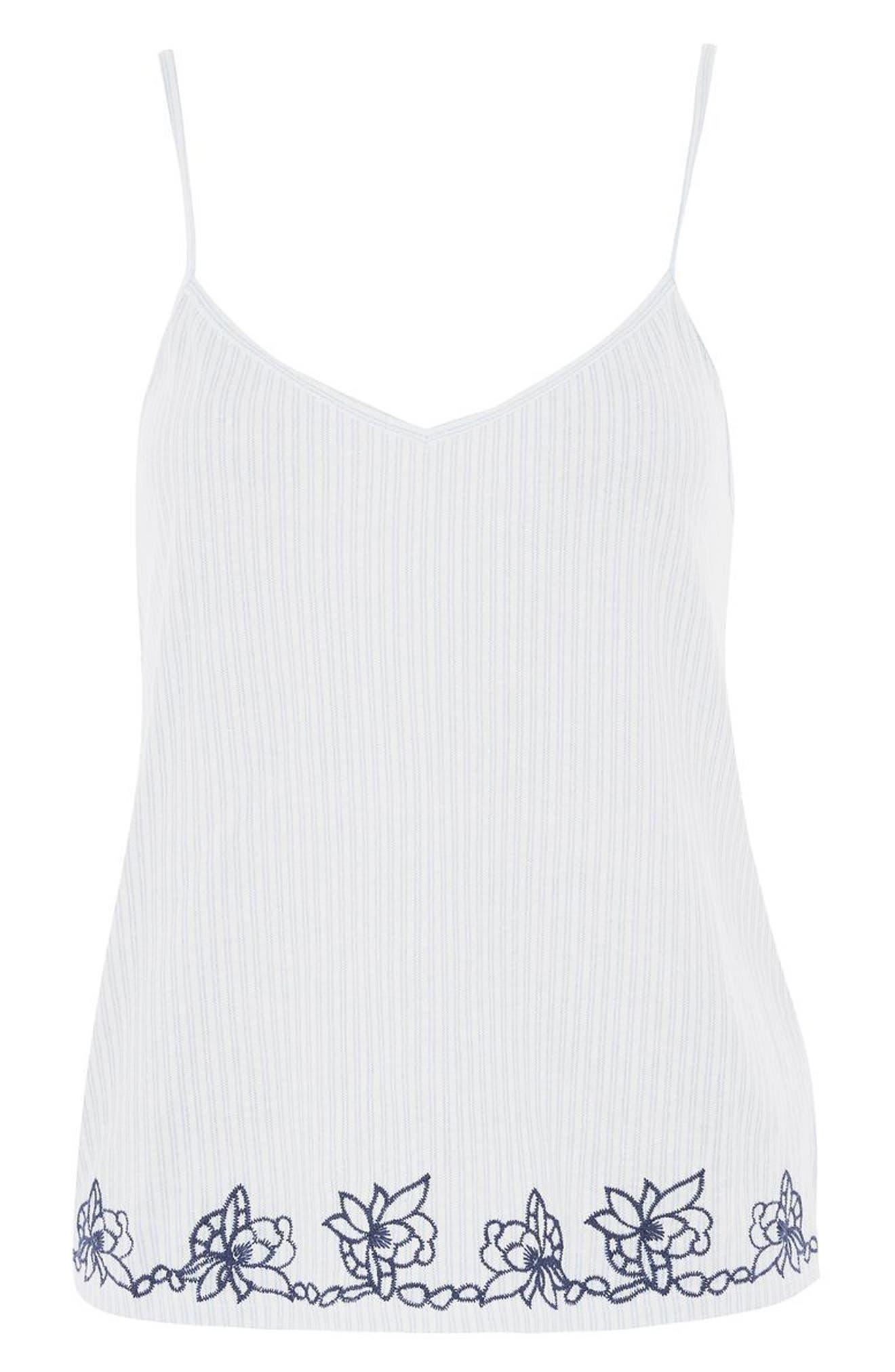 Alternate Image 4  - Topshop Embroidered Oxford Stripe Pajama Tank