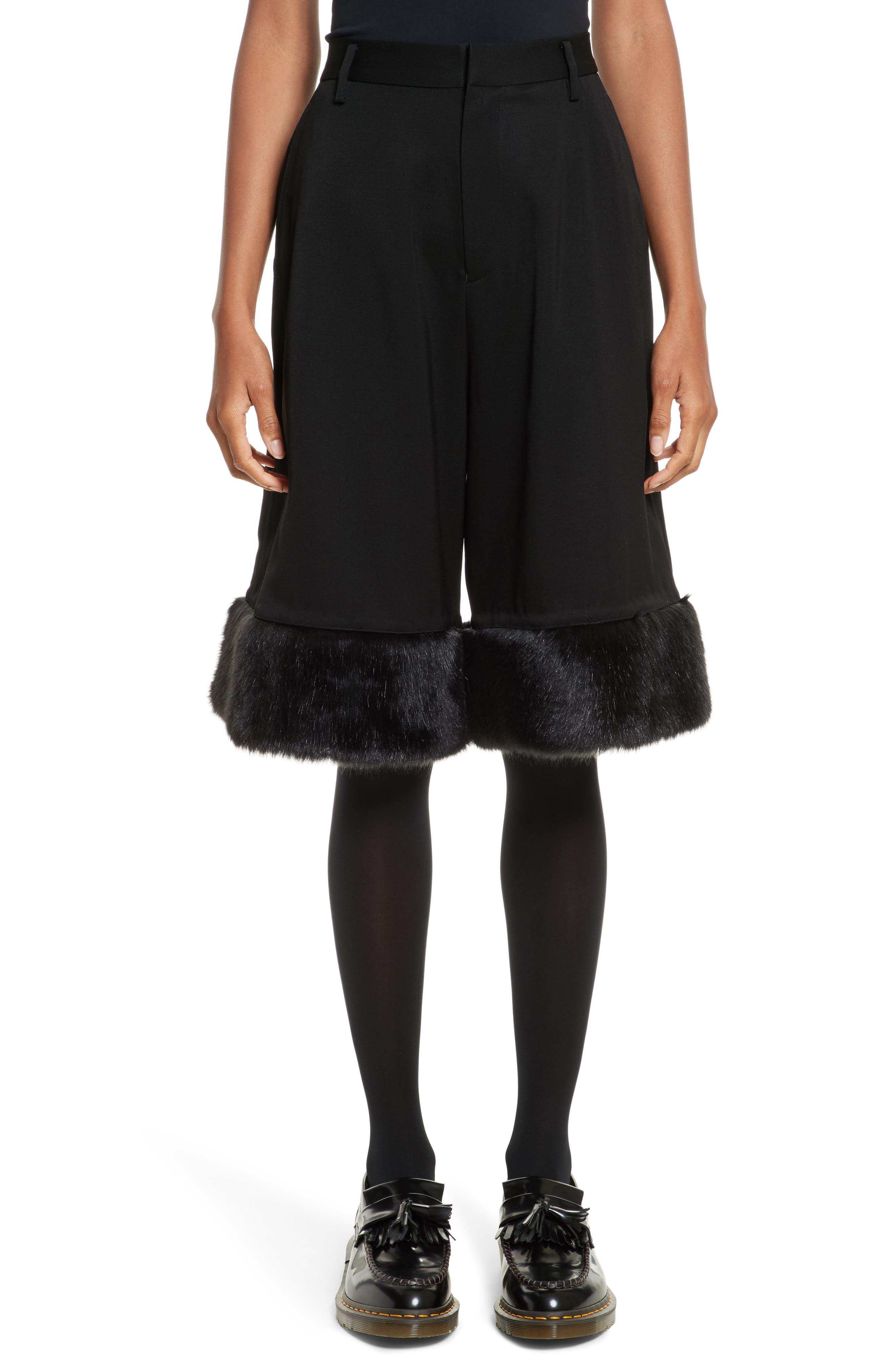 NOIR KEI NINOMIYA Crop Wide Leg Pants with Faux Fur Trim