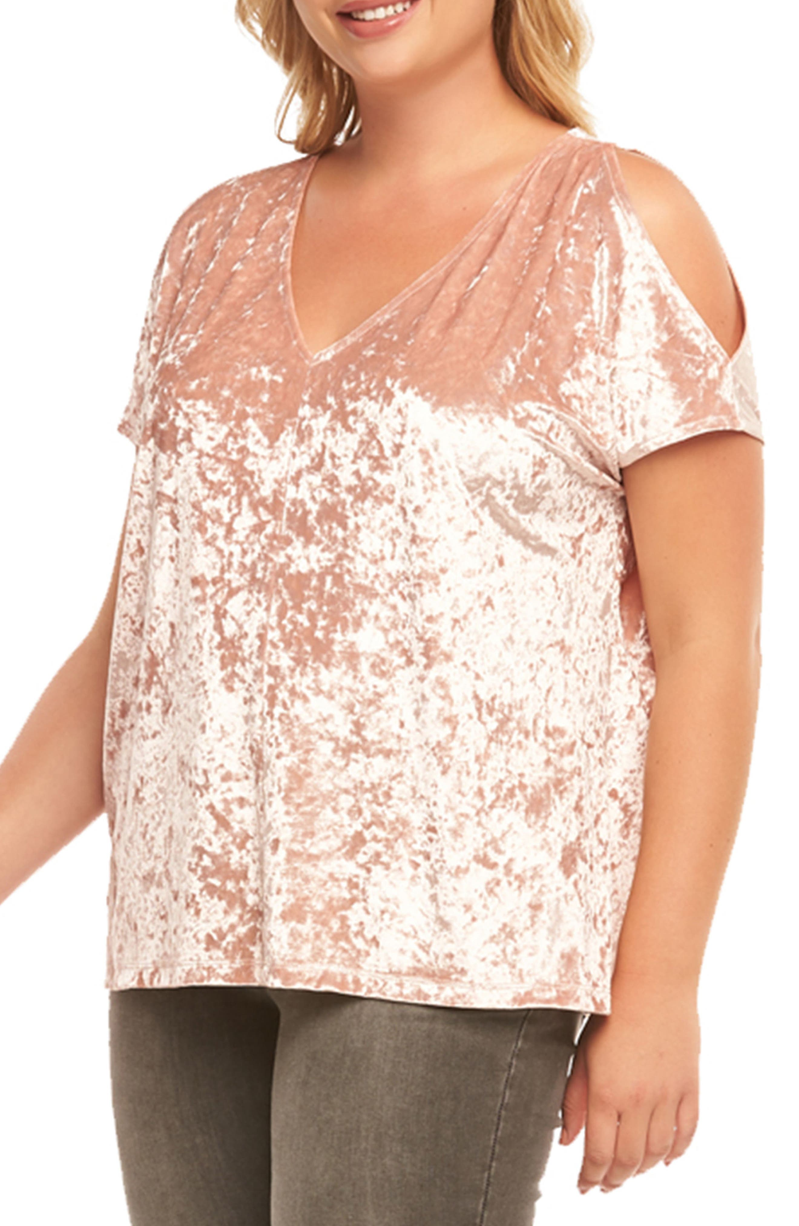Rocky Cold Shoulder Top,                             Alternate thumbnail 3, color,                             Dusty Rose