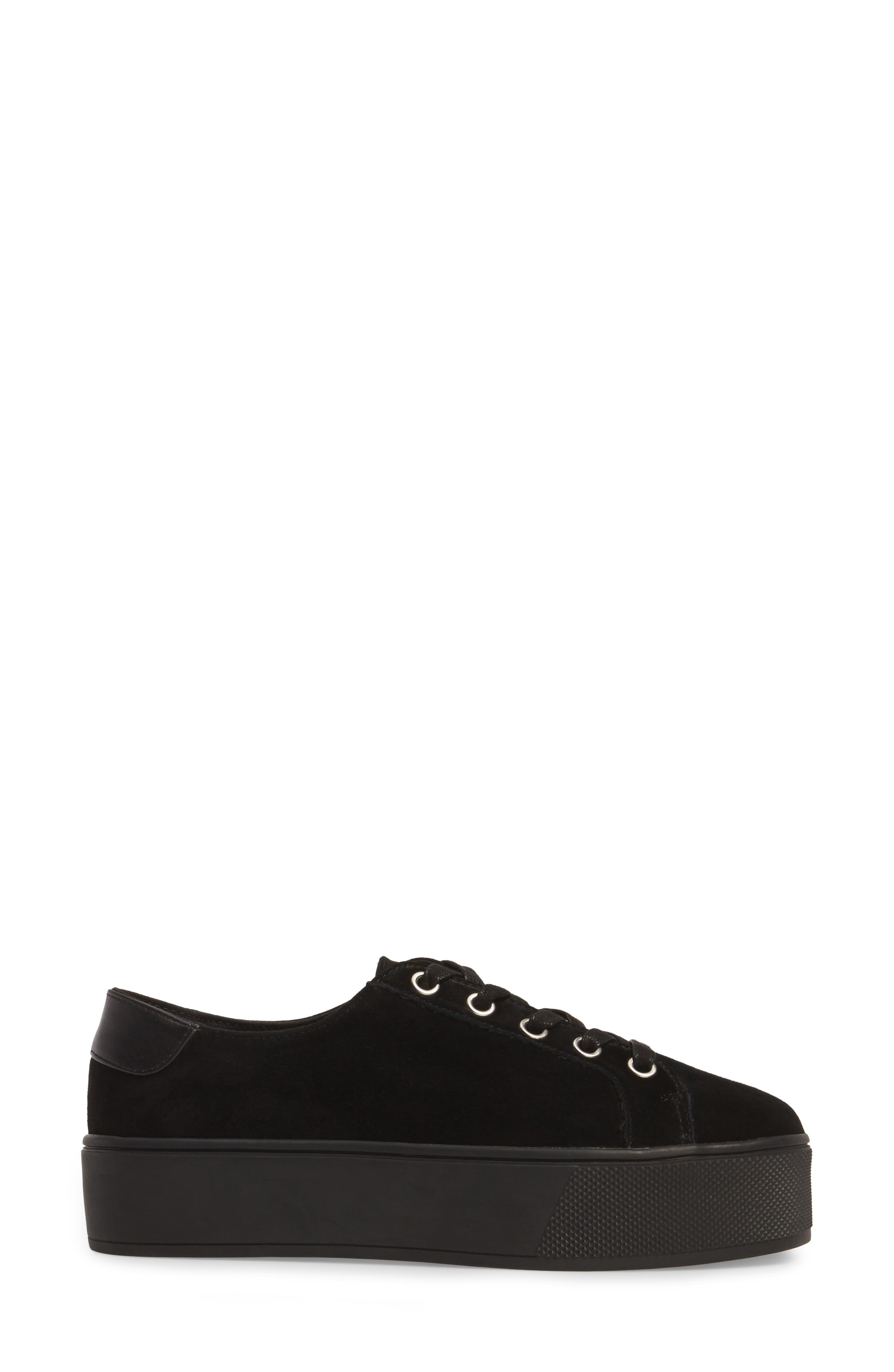 Felecia Platform Sneaker,                             Alternate thumbnail 3, color,                             Black Suede