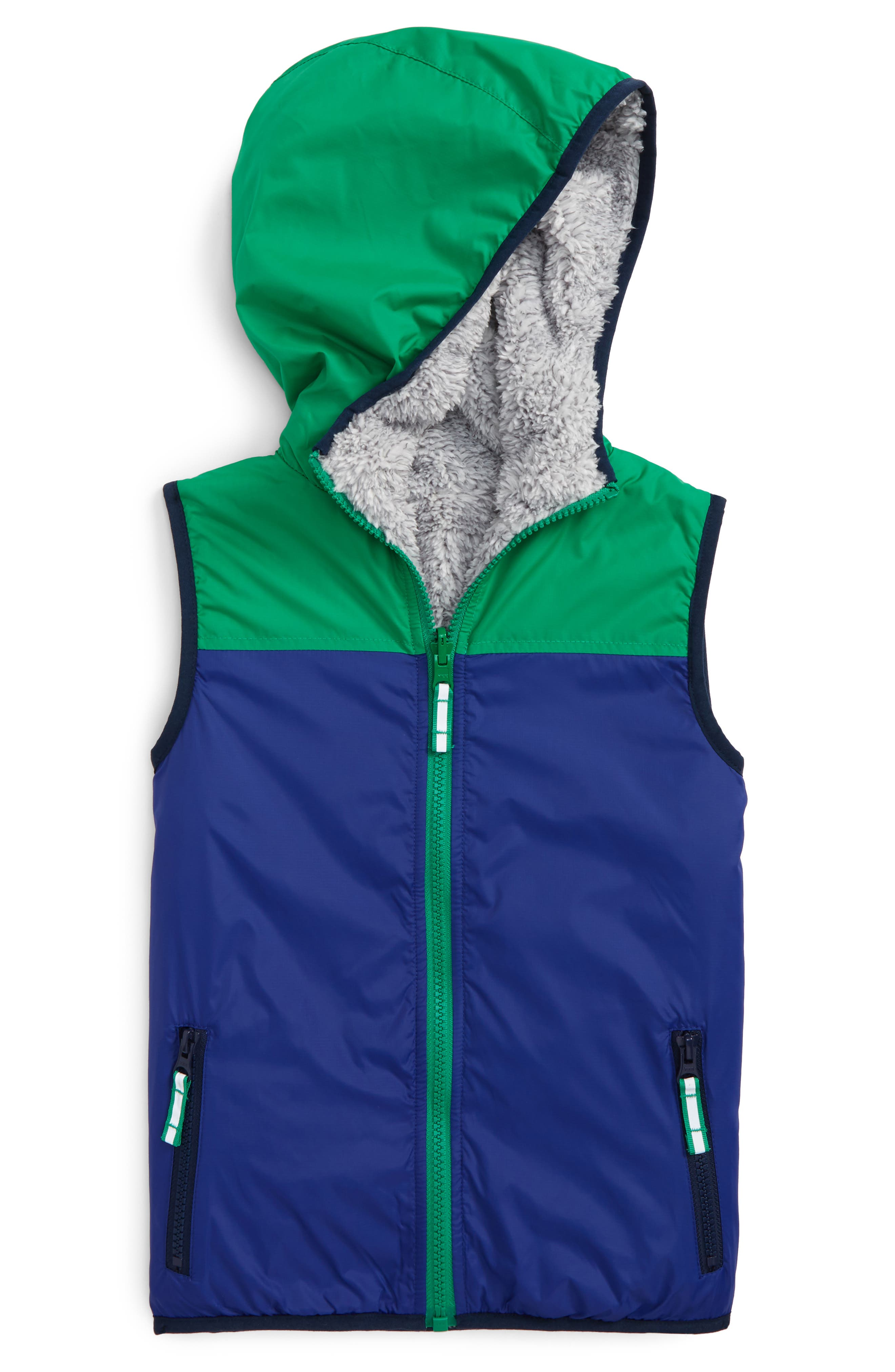 Main Image - Mini Boden Cozy Reversible Vest (Toddler Boys, Little Boys & Big Boys)
