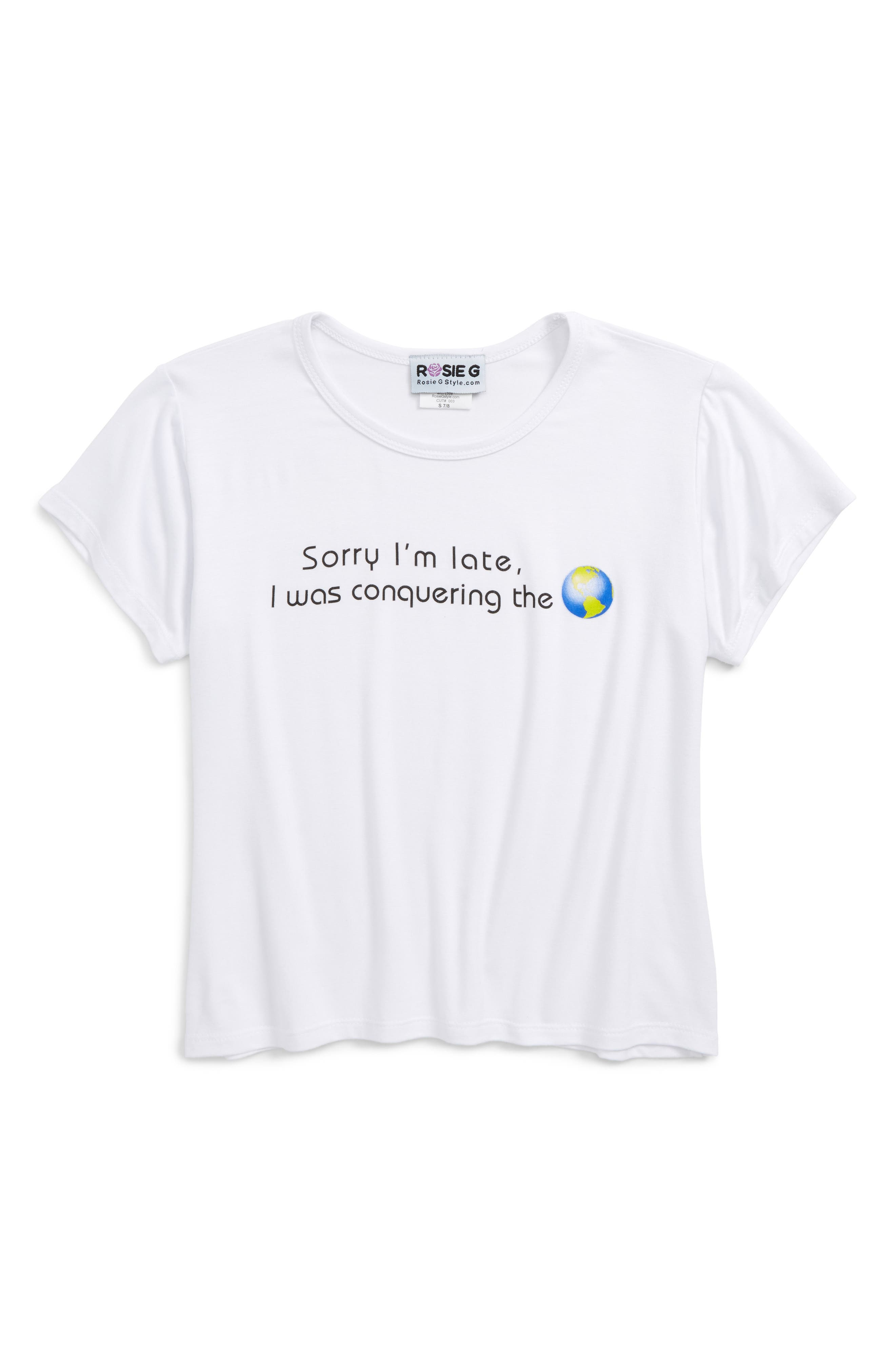 Sorry I'm Late Graphic Tee,                         Main,                         color, White