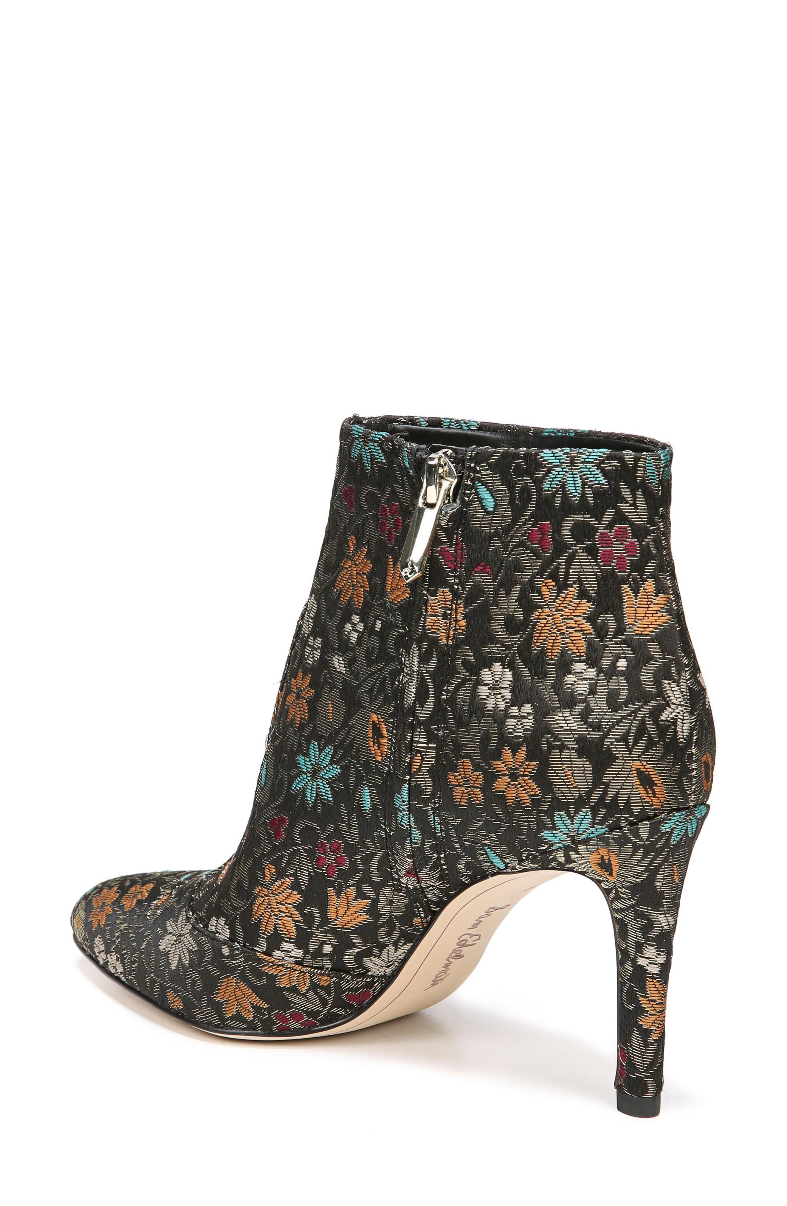 Olette Pointy Toe Bootie,                             Alternate thumbnail 3, color,                             Black Floral Brocade