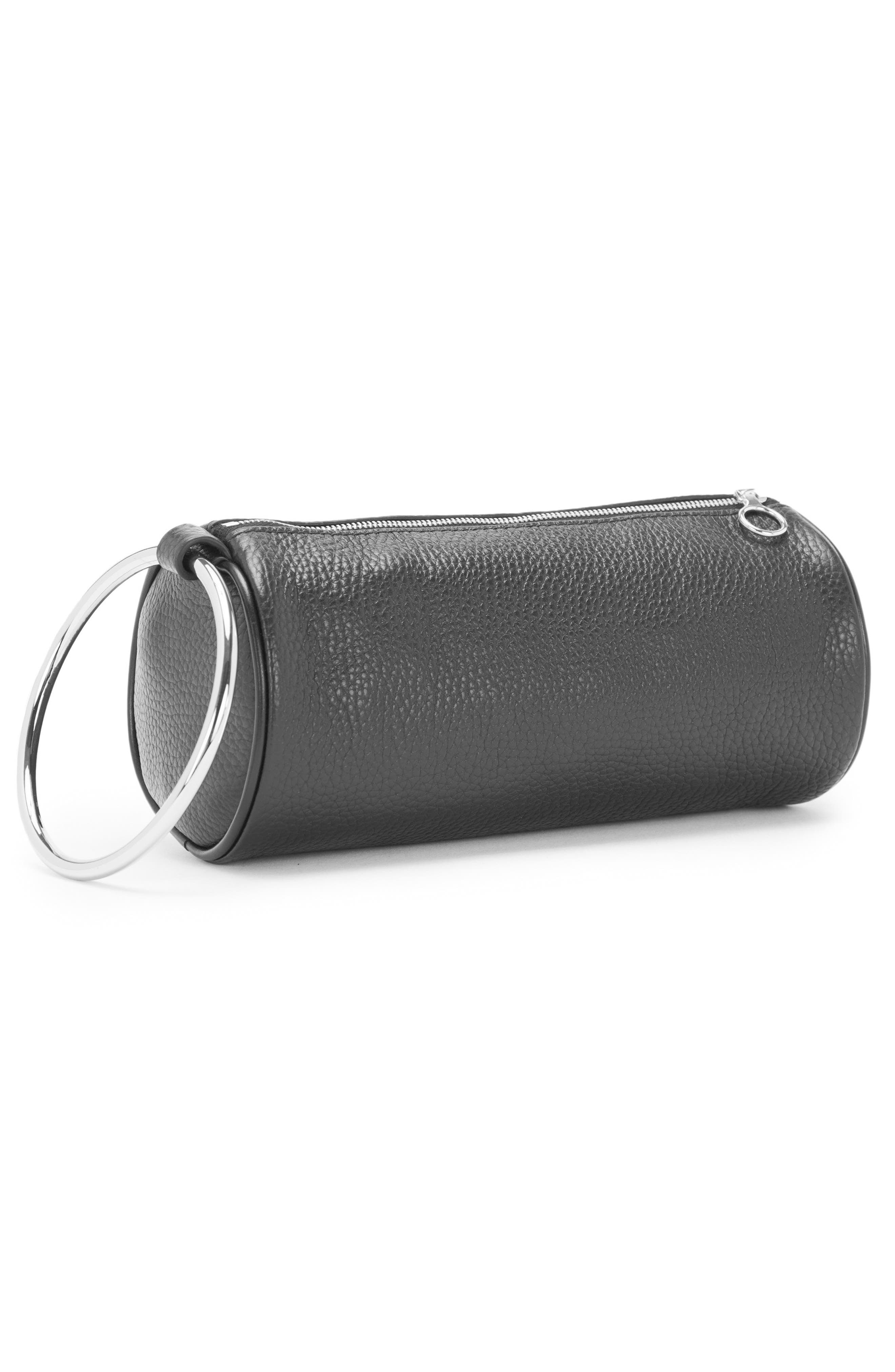 Pebbled Leather Duffel Wristlet Clutch,                             Alternate thumbnail 3, color,                             Black