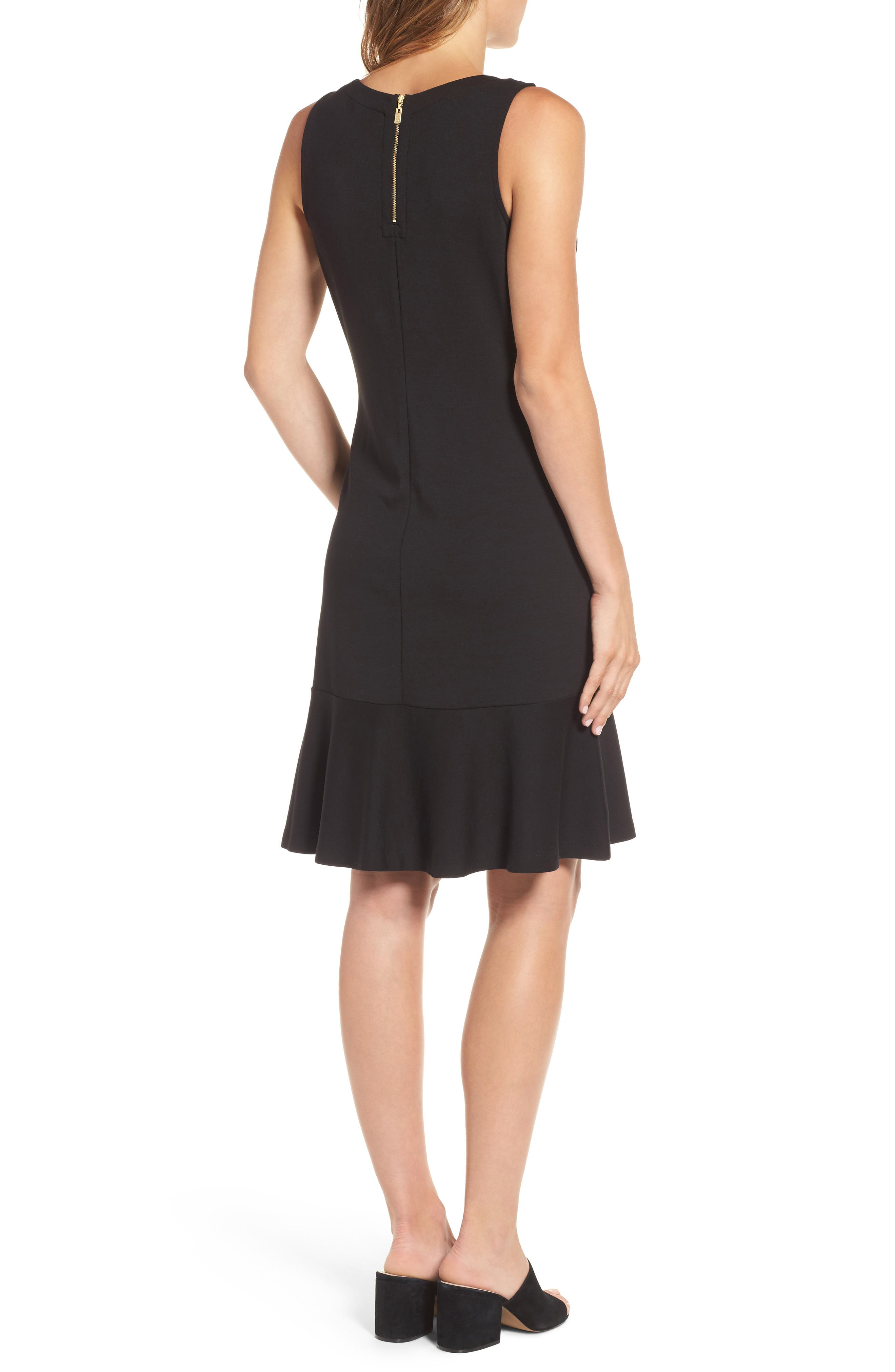 Ponte Knit A-Line Dress,                             Alternate thumbnail 2, color,                             Black