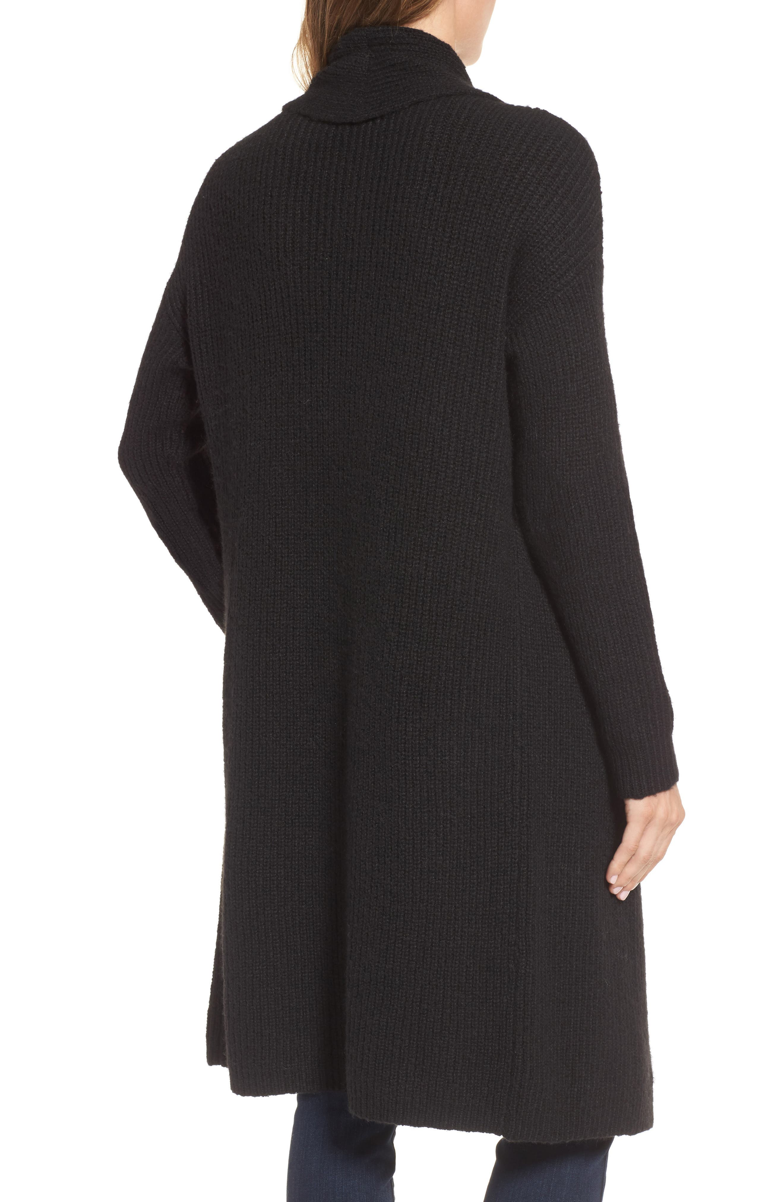 Textured Open Front Cardigan,                             Alternate thumbnail 2, color,                             Black