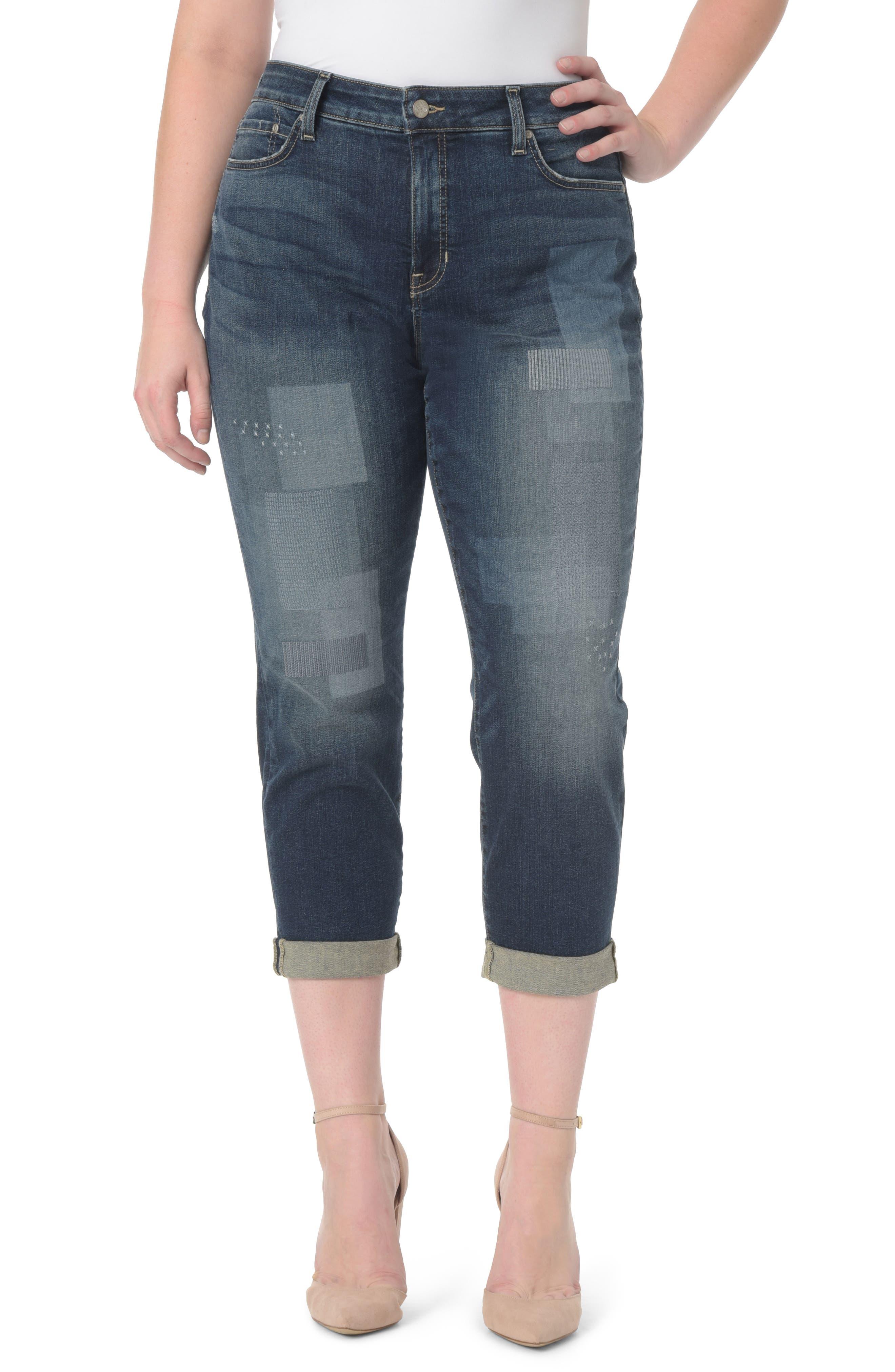 Alternate Image 1 Selected - NYDJ Shadow Patch Stretch Boyfriend Jeans (Horizon) (Plus Size)