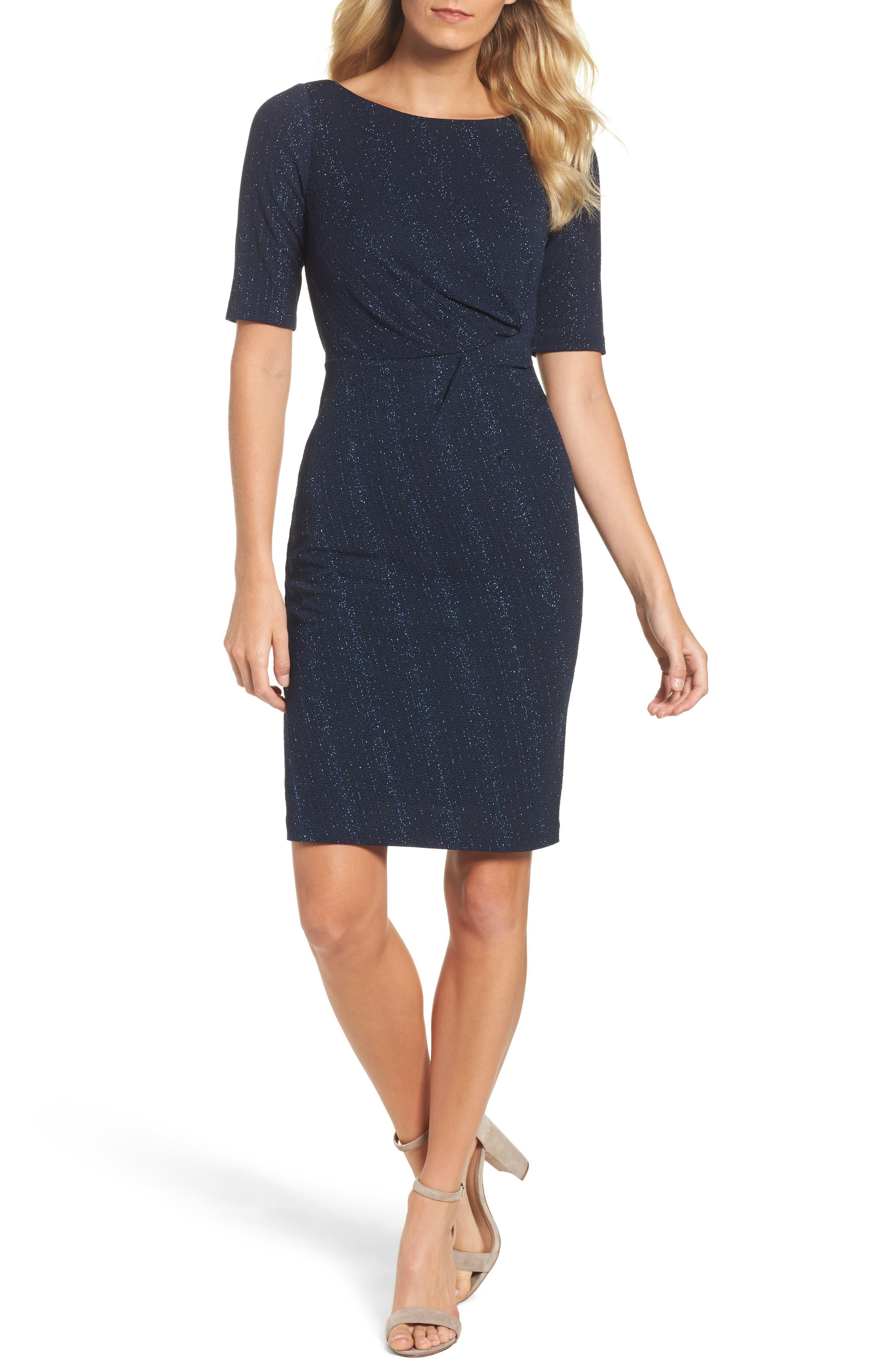 Glitter Knit Sheath Dress,                         Main,                         color, Navy