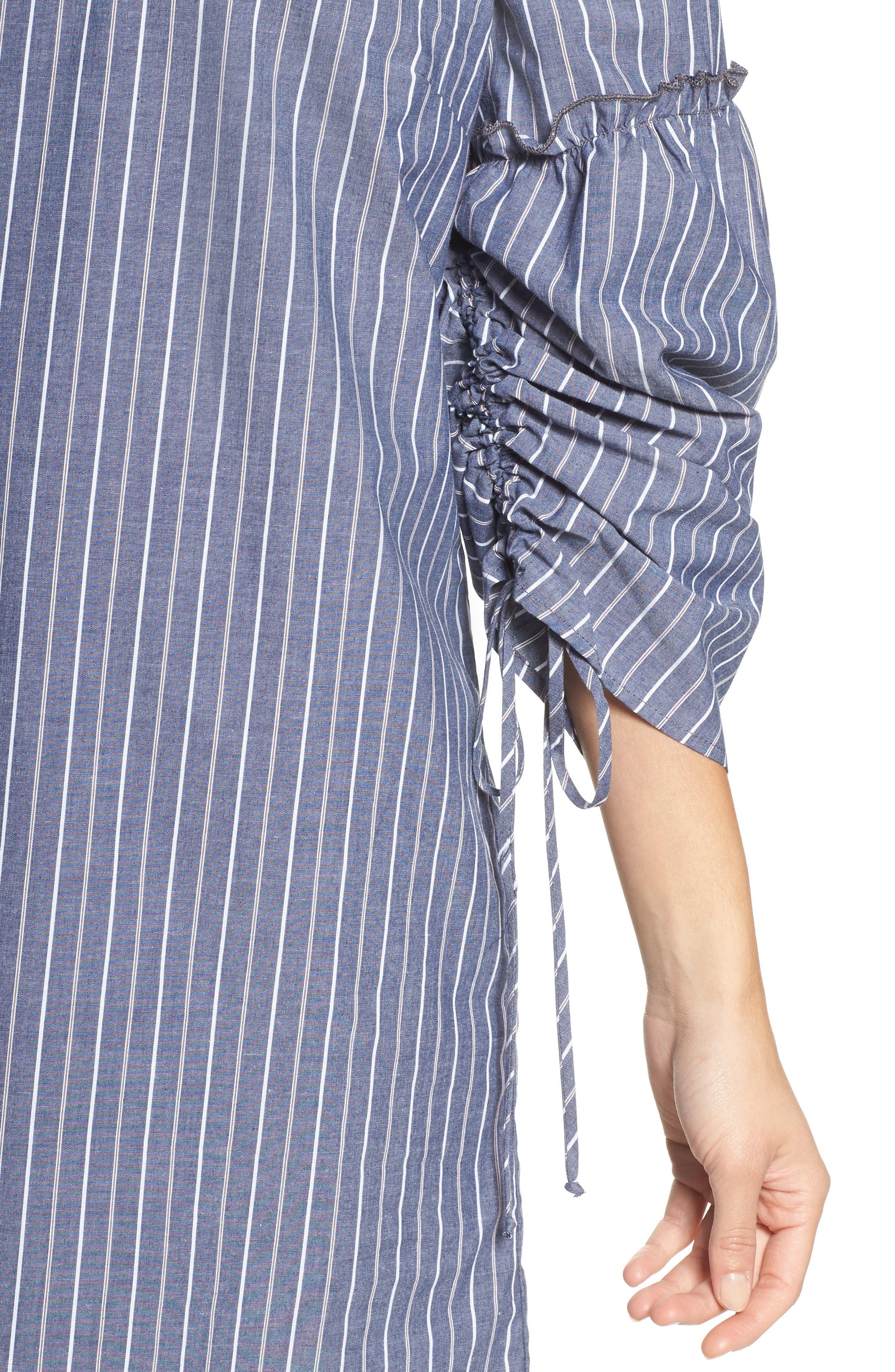 Alternate Image 4  - Charles Henry Ruched Sleeve Poplin Shift Dress