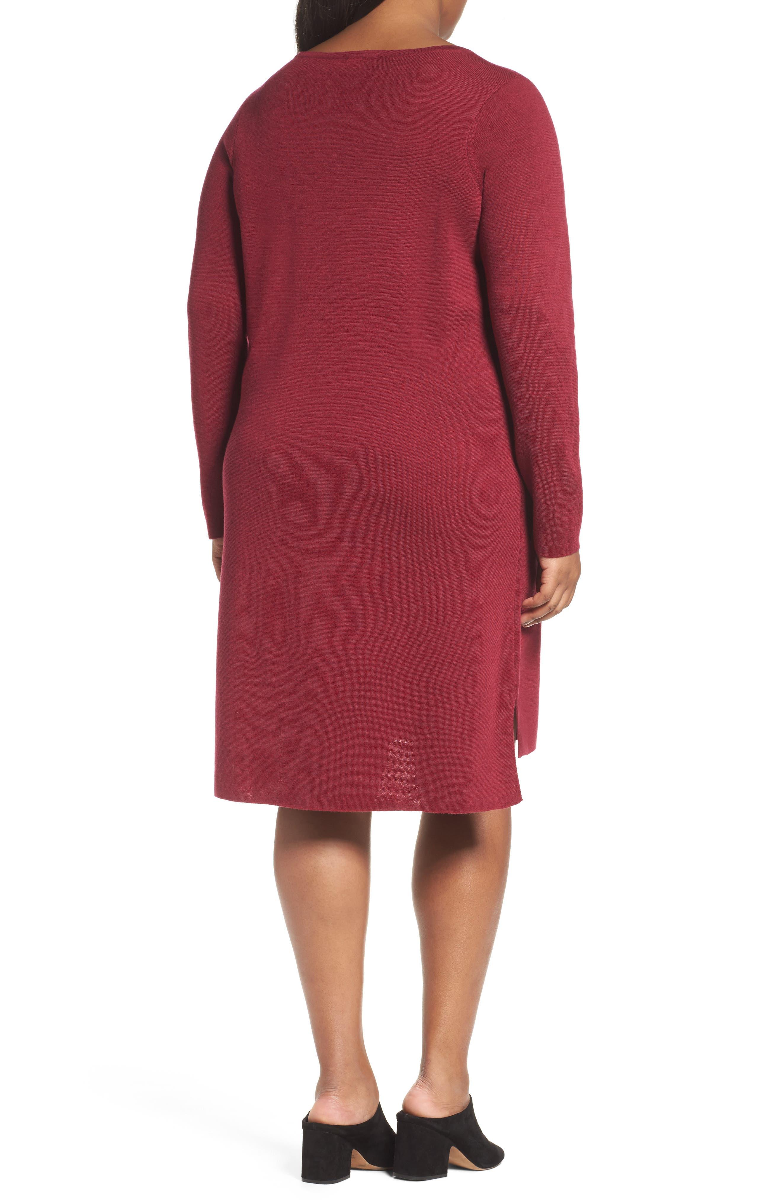Merino Wool Sweater Dress,                             Alternate thumbnail 2, color,                             Hibiscus