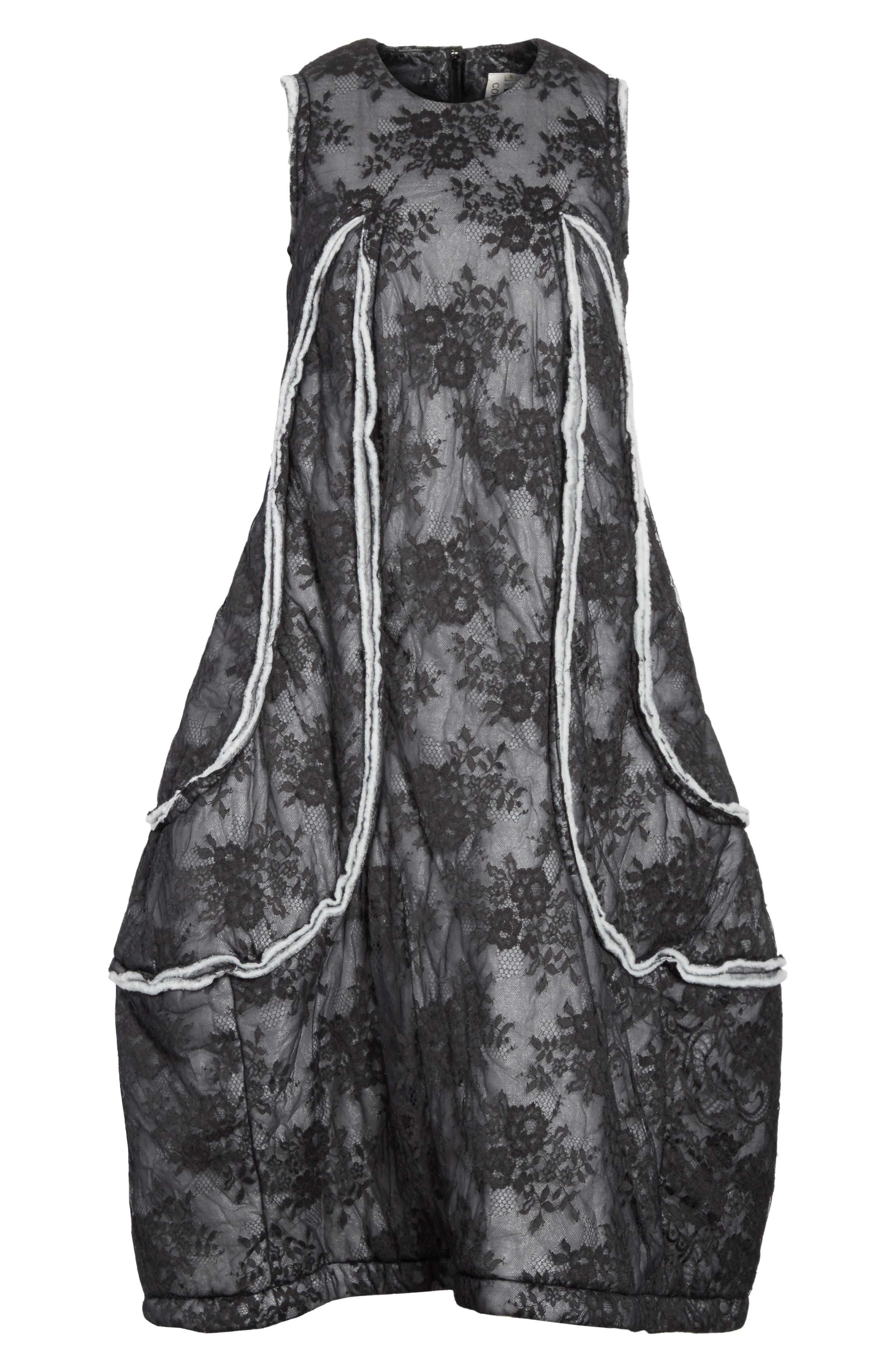 Floral Dress,                             Alternate thumbnail 7, color,                             Black/ Off White