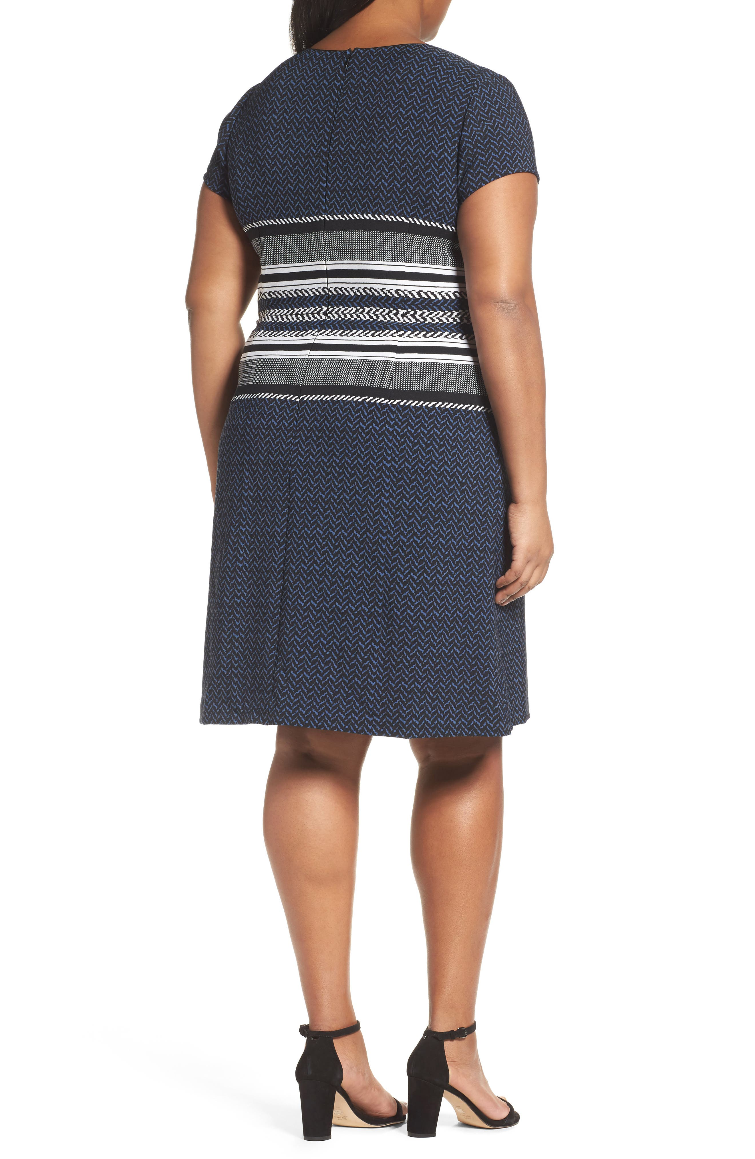 Alternate Image 2  - Adrianna Papell Herringbone Print Sheath Dress (Plus Size)