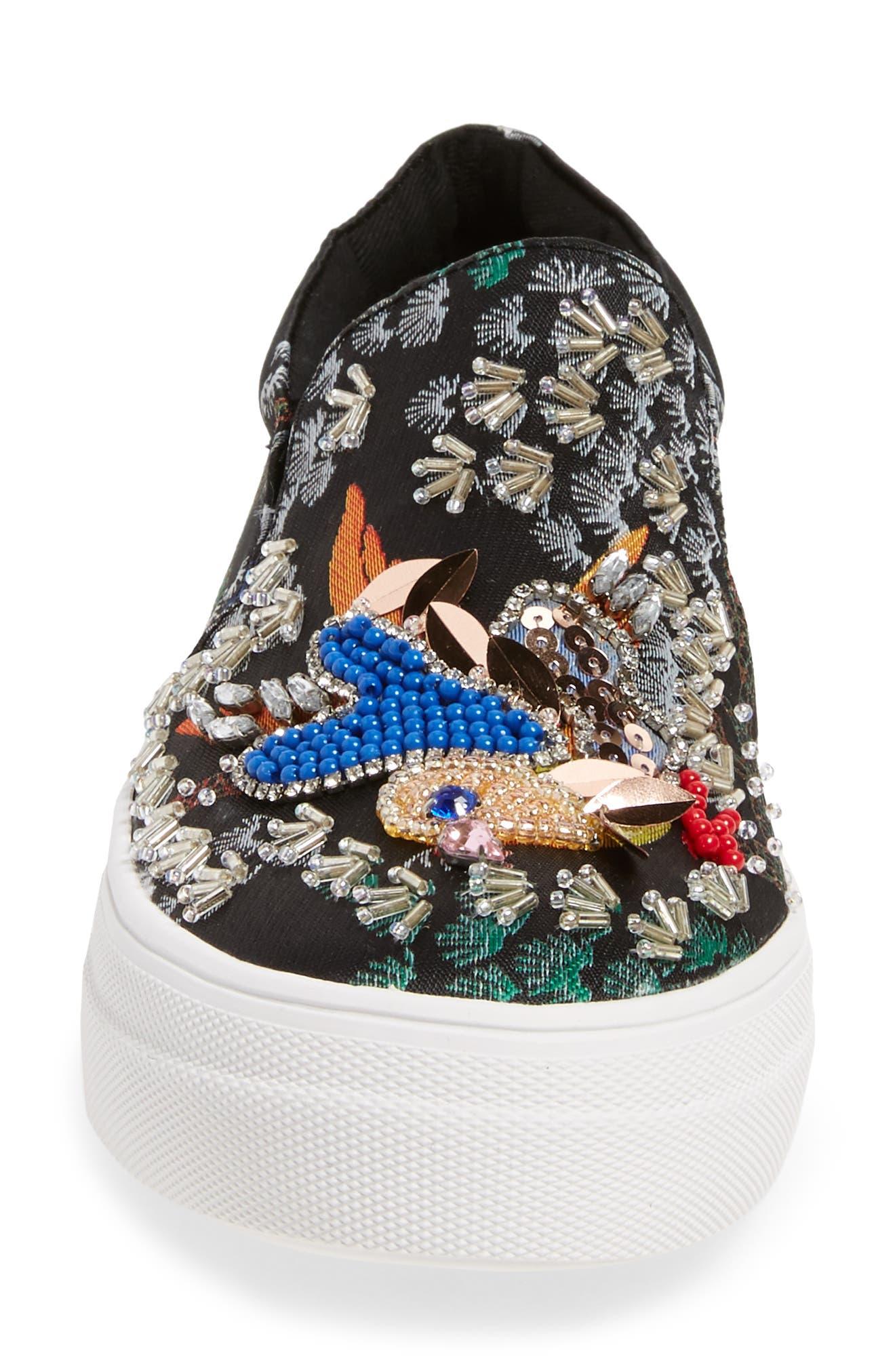 Gwen Embellished Slip-On Platform Sneaker,                             Alternate thumbnail 4, color,                             Black Multi