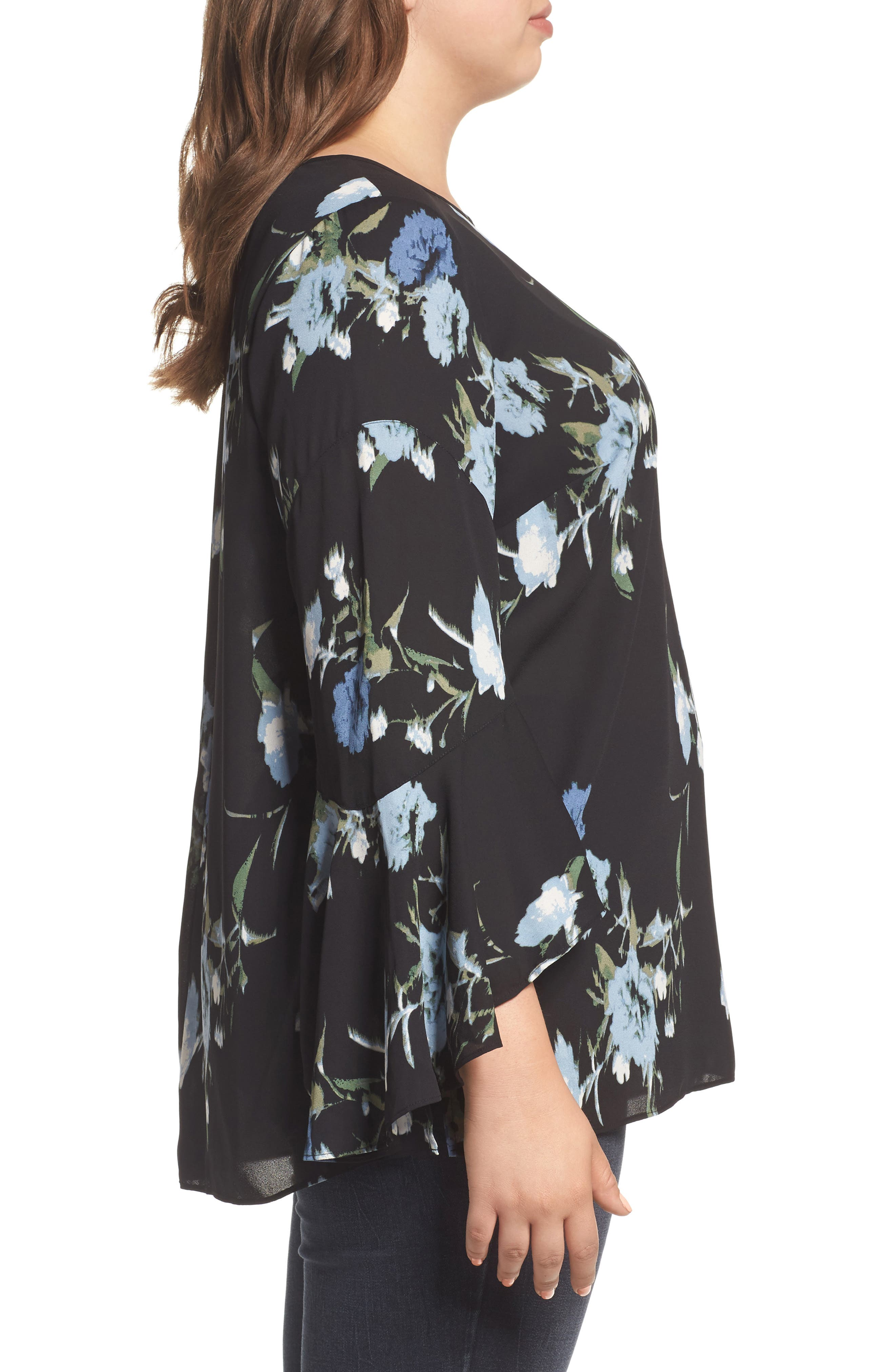 Windswept Bouquet Bell Sleeve Blouse,                             Alternate thumbnail 3, color,                             Cameo Blue