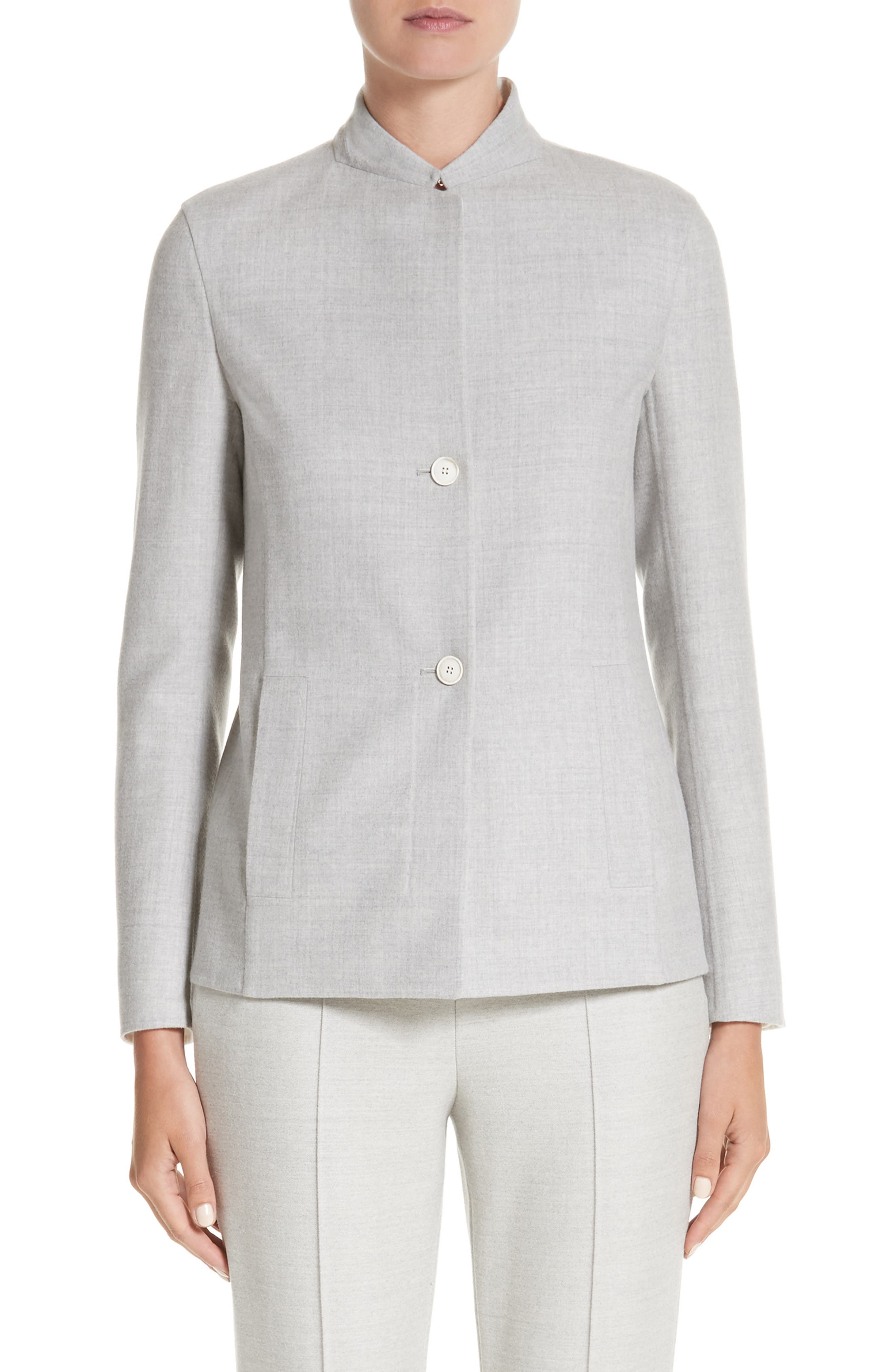 Stretch Wool & Silk Bicolor Reversible Jacket,                             Main thumbnail 1, color,                             Gravel/ Off White