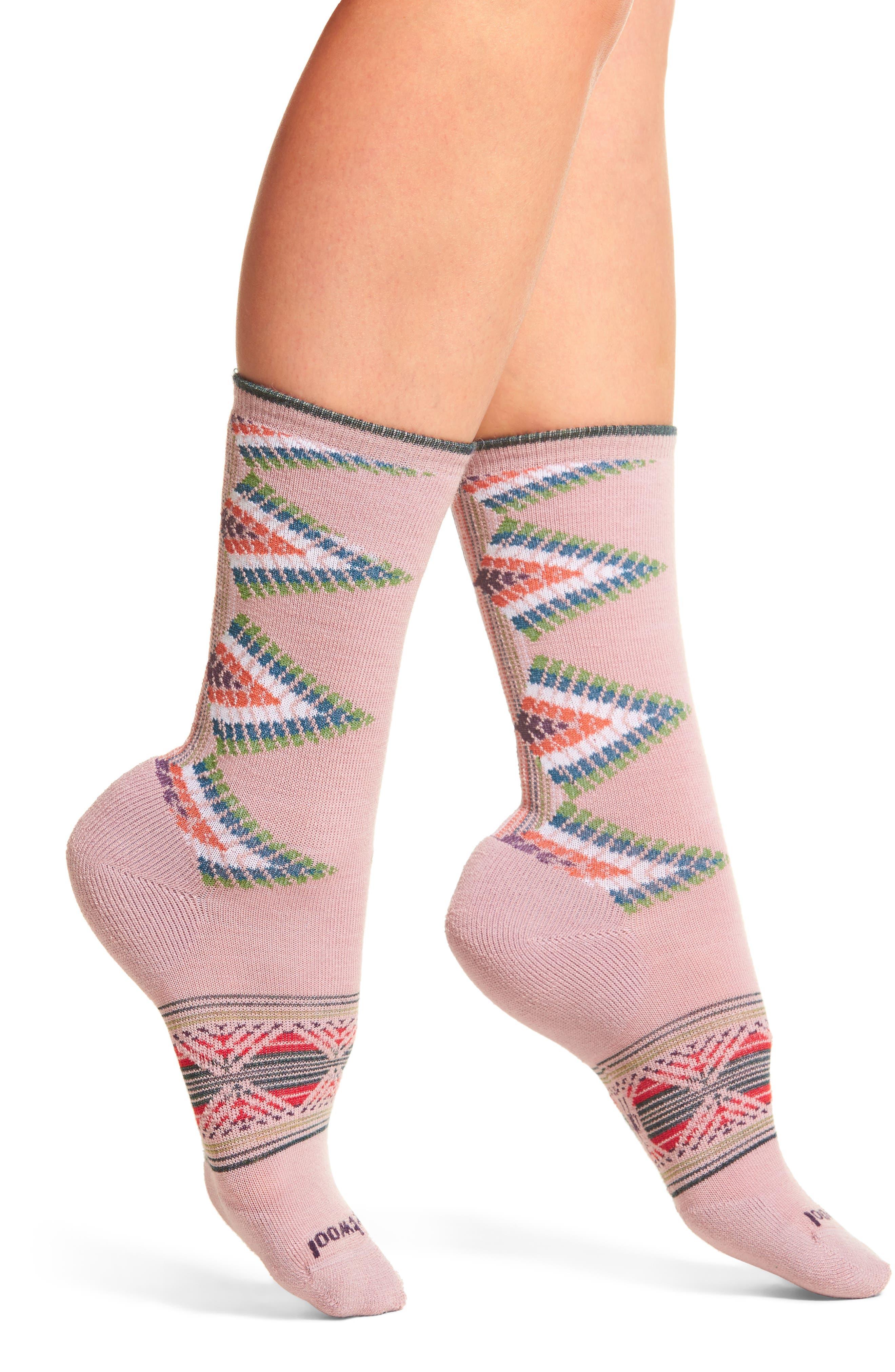 Tiva Crew Socks,                         Main,                         color, Woodrose Heather